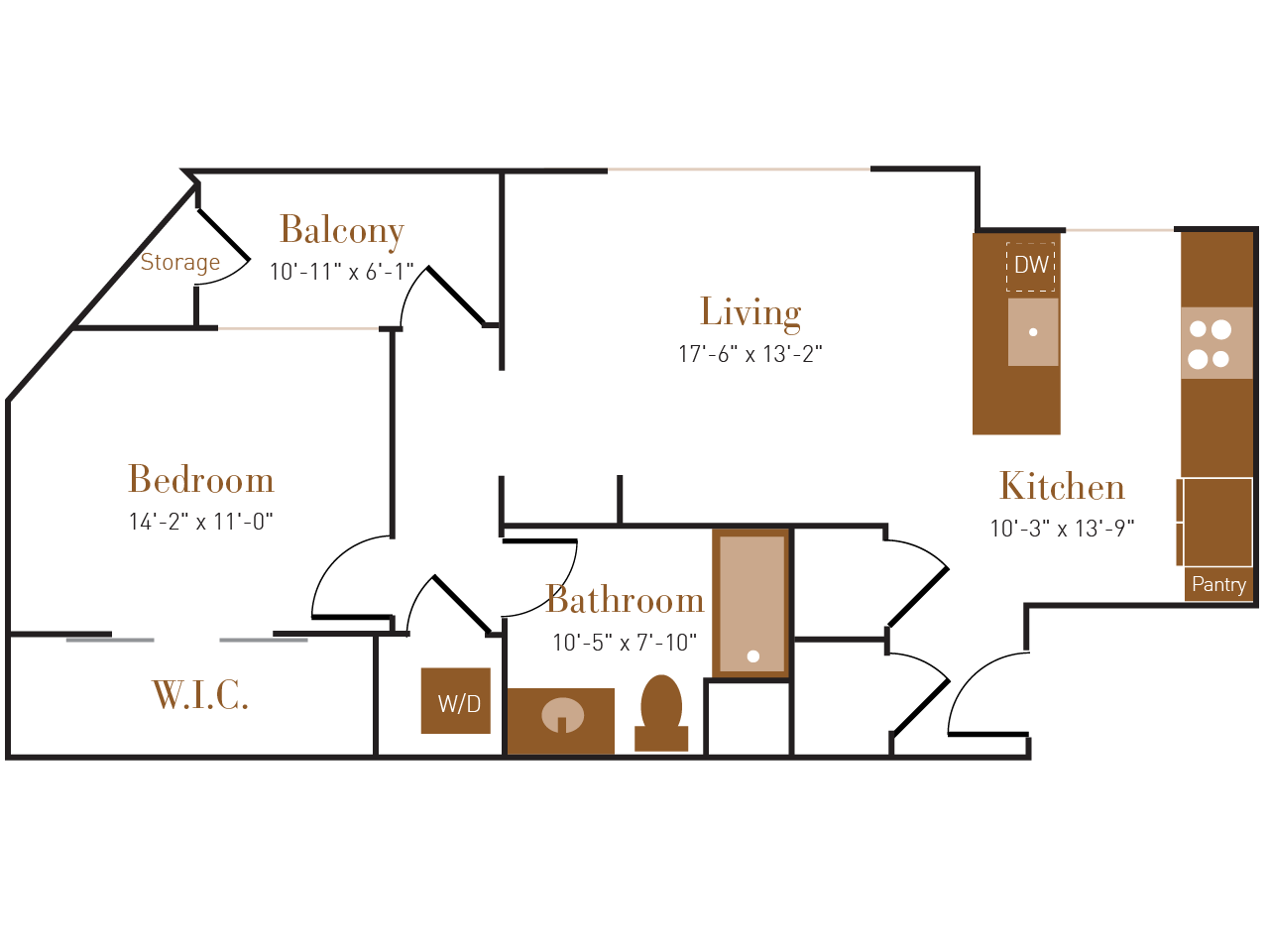 A Seven floor plan diagram. One bedroom, one bathroom, an open kitchen and living area, a balcony, and a washer dryer.