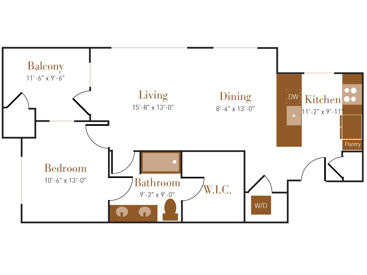 A Six floor plan diagram. One bedroom, one bathroom, an open kitchen dining and living area, a balcony, and a washer dryer.