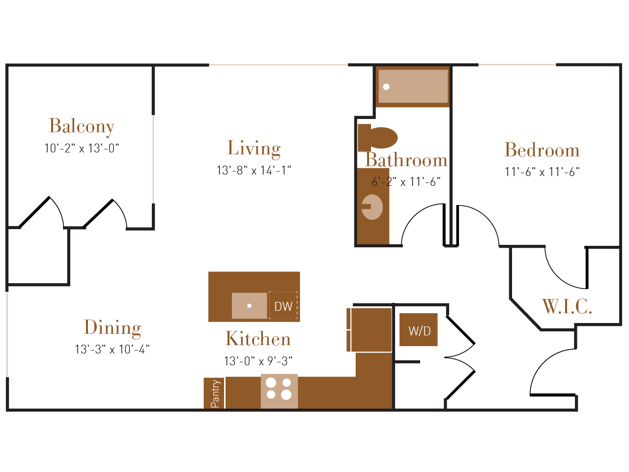 A Three A floor plan diagram. One bedroom, one bathroom, an open kitchen dining and living area, a balcony, and a washer dryer.