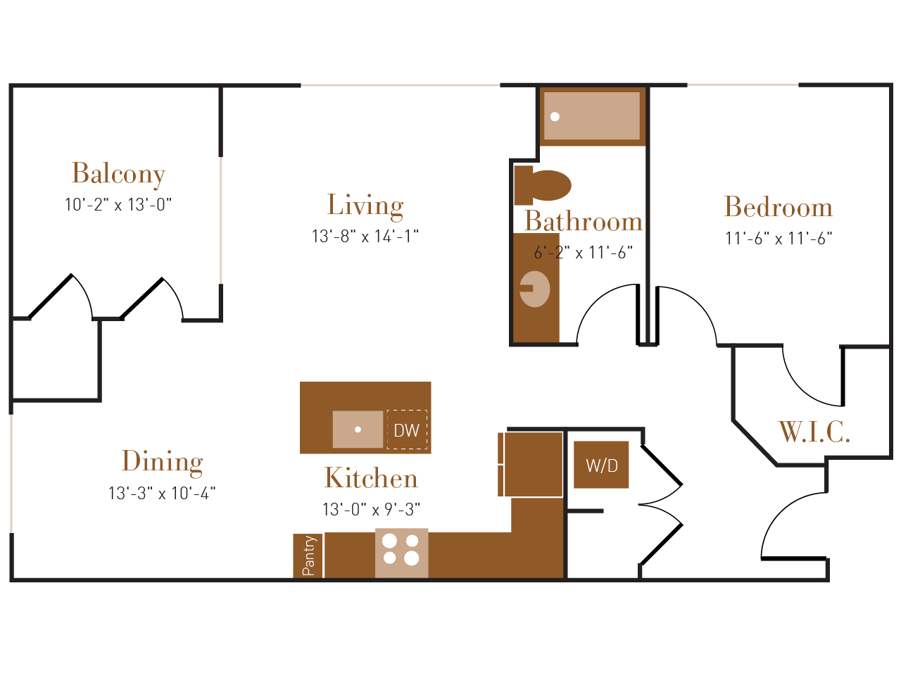 A Three B floor plan diagram. One bedroom, one bathroom, an open kitchen dining and living area, a balcony, and a washer dryer.