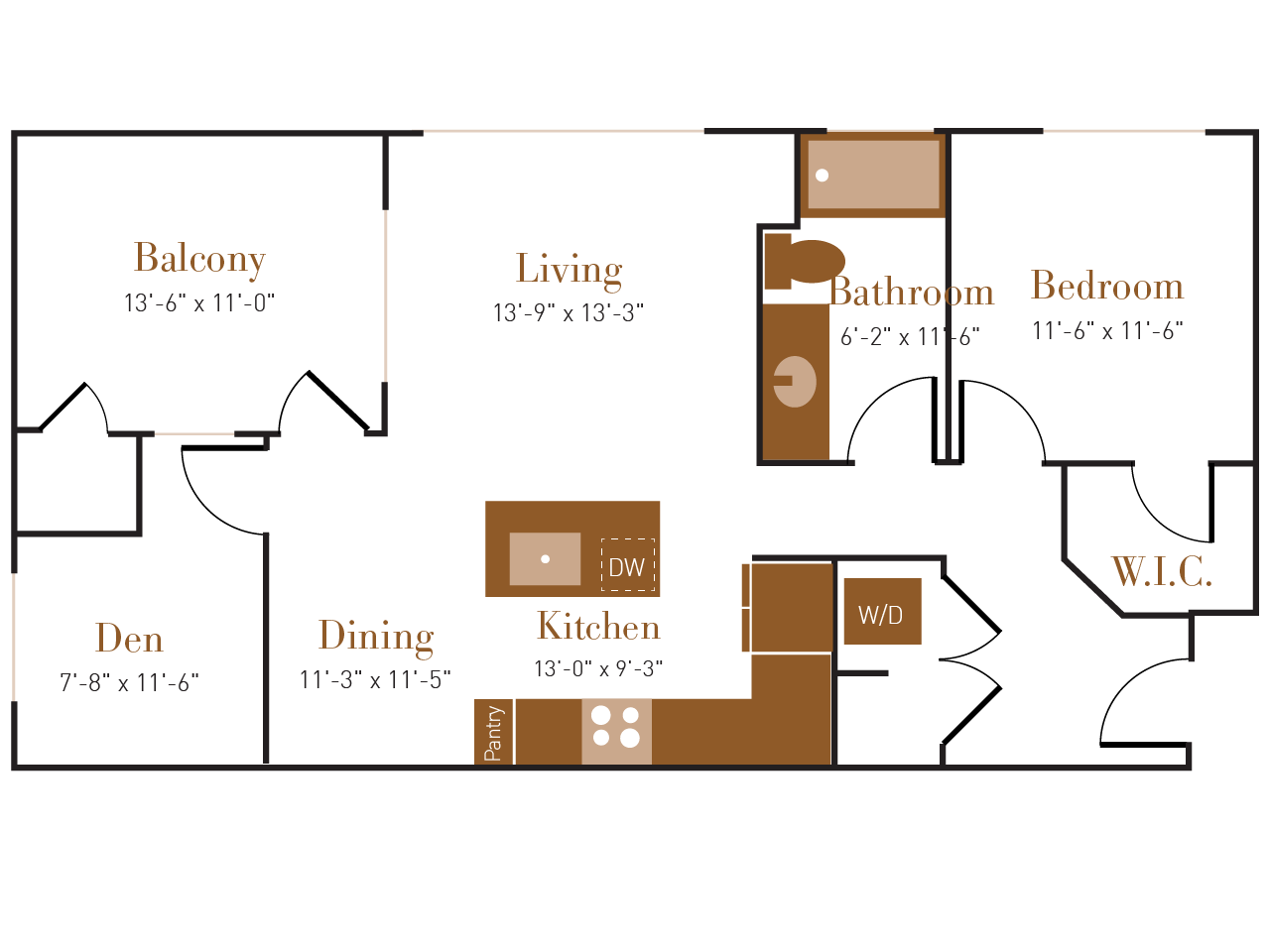 A Four floor plan diagram. One bedroom, one bathroom, an open kitchen dining and living area, a den, a balcony, and a washer dryer.