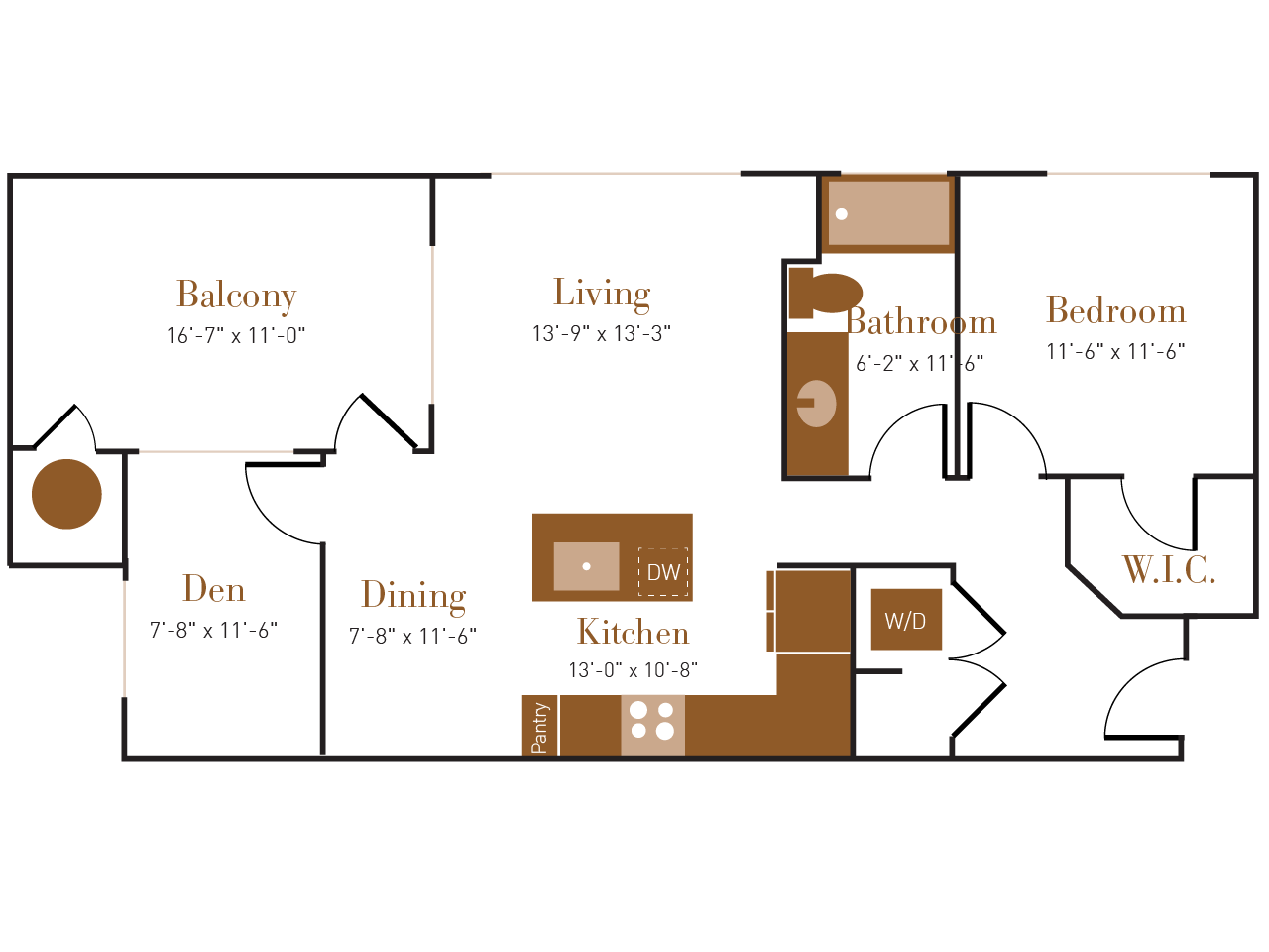 A Four A floor plan diagram. One bedroom, one bathroom, an open kitchen dining and living area, a den, a balcony, and a washer dryer.
