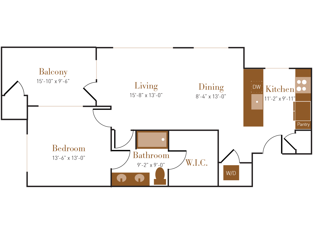 A Six A floor plan diagram. One bedroom, one bathroom, an open kitchen dining and living area, a balcony, and a washer dryer.