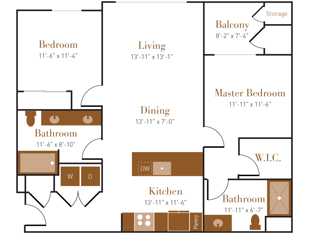 B Two floor plan diagram. Two bedrooms, two bathrooms, an open kitchen dining and living area, a balcony, and a washer dryer.