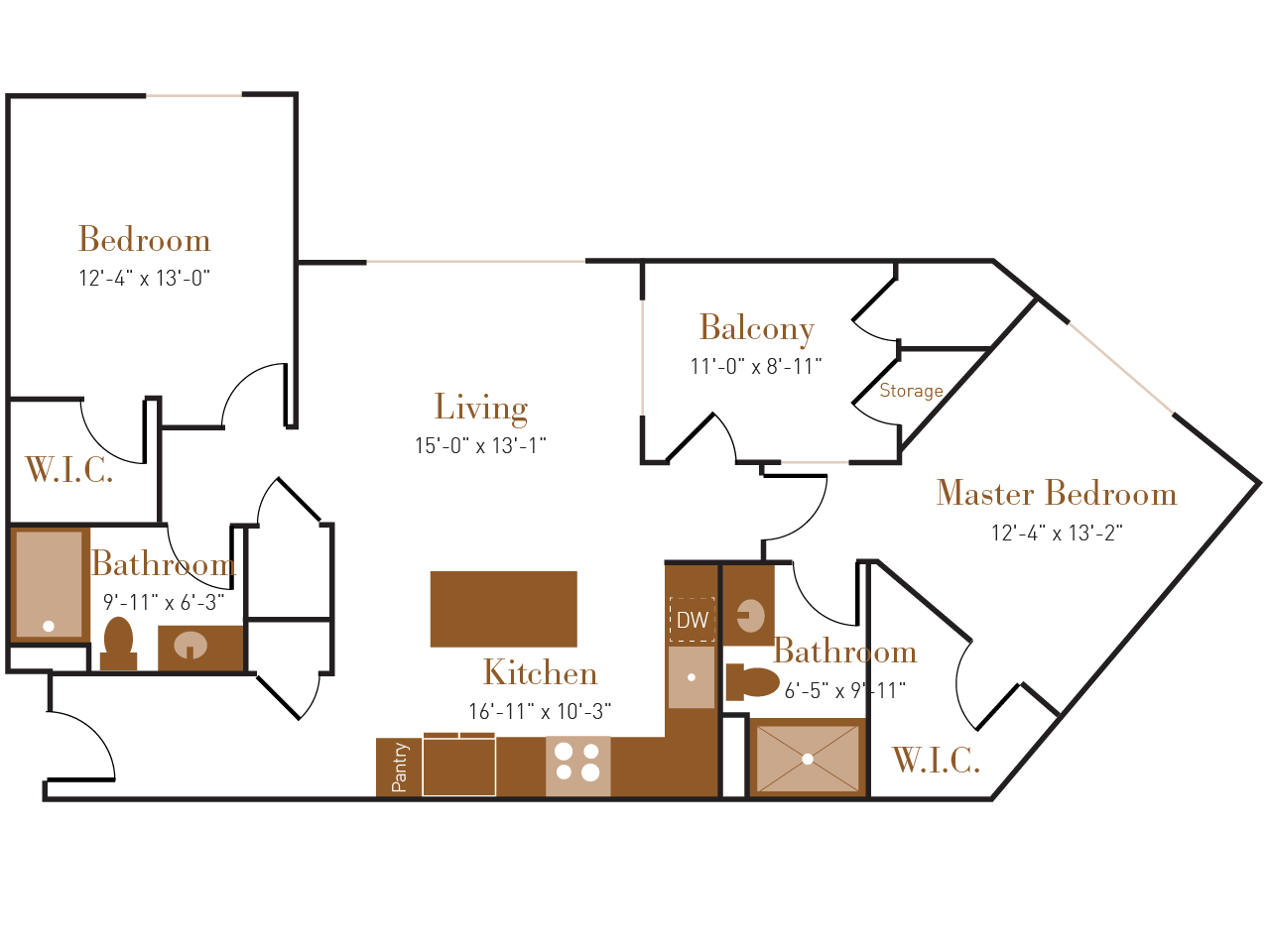 B One floor plan diagram. Two bedrooms, two bathrooms, an open kitchen and living area, a balcony, and a washer dryer.