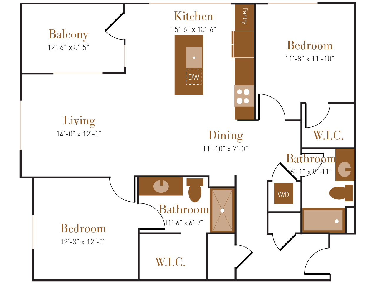 B Three floor plan diagram. Two bedrooms, two bathrooms, an open kitchen dining and living area, a balcony, and a washer dryer.