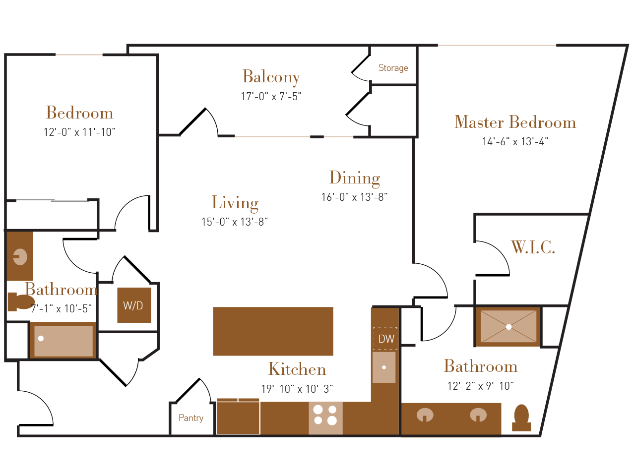 B Four floor plan diagram. Two bedrooms, two bathrooms, an open kitchen dining and living area, a balcony, and a washer dryer.