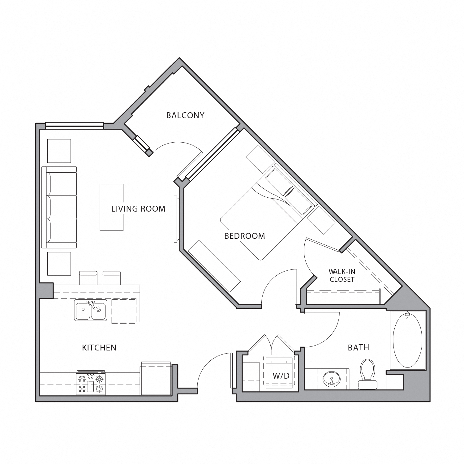 Floor plan diagram. One bedroom, one bathroom, an open kitchen and living area, and a balcony.