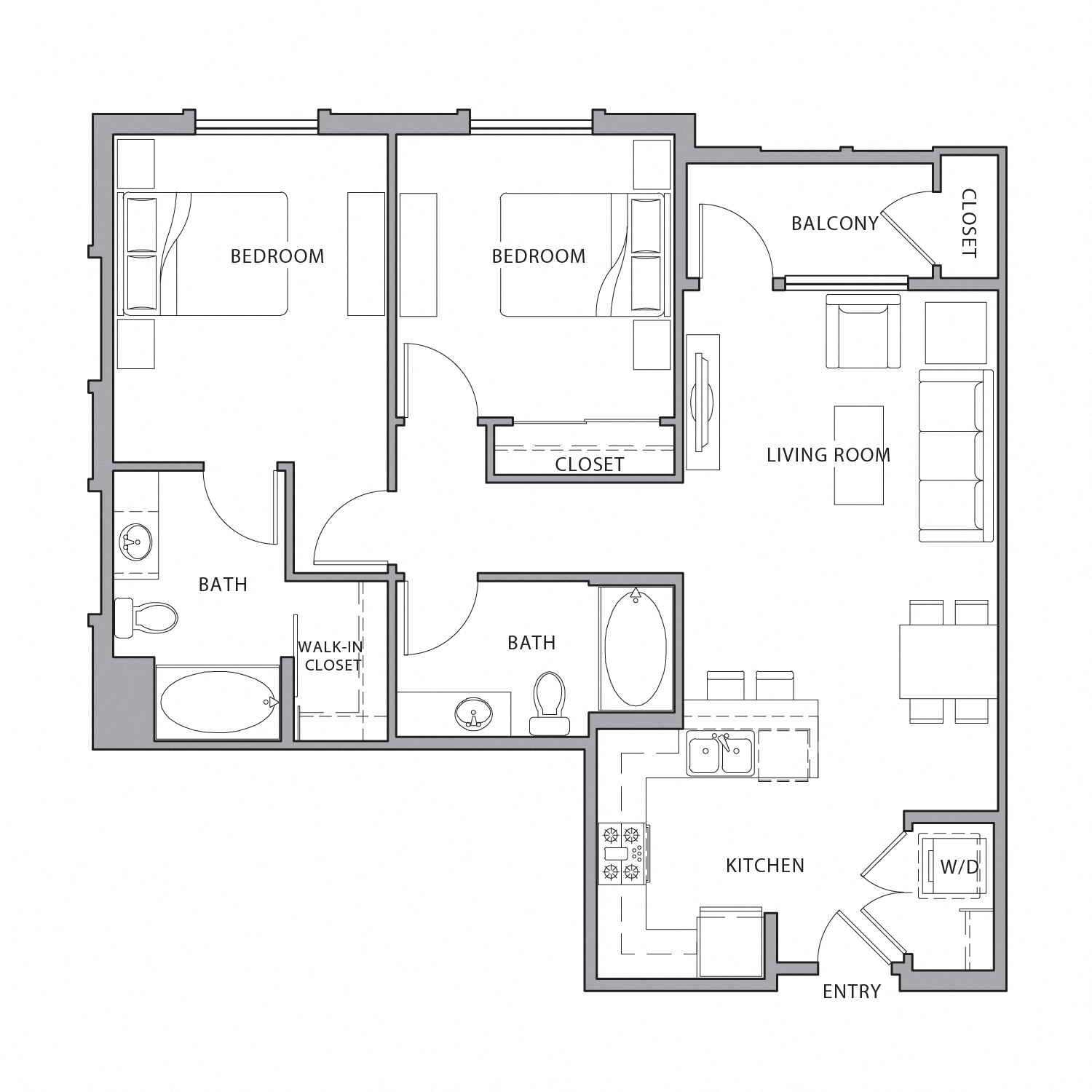 Floor plan diagram. Two bedrooms, two bathrooms, an open kitchen and living area, and a balcony.