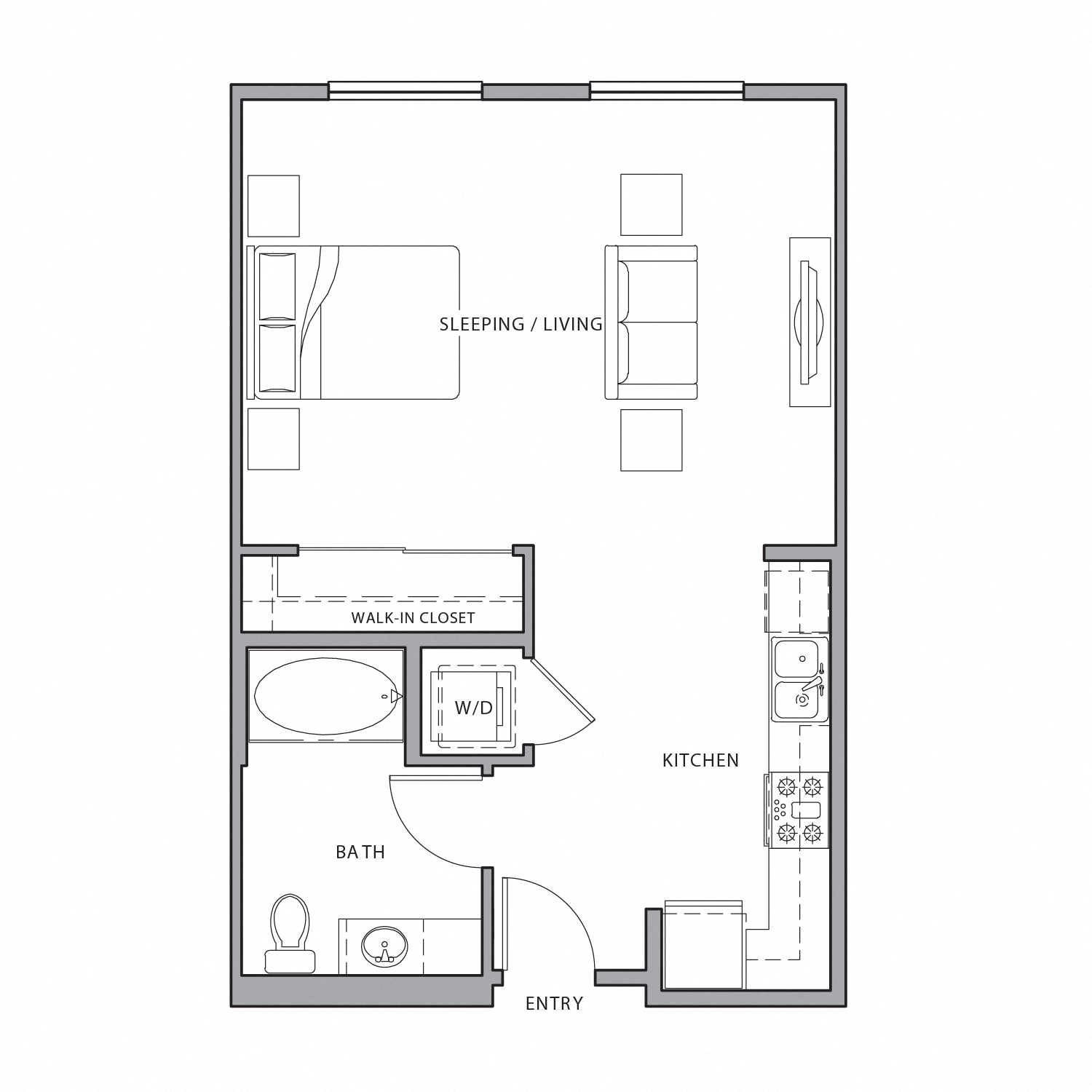 Floor plan diagram. Studio apartment an open kitchen and living area and one bathroom.