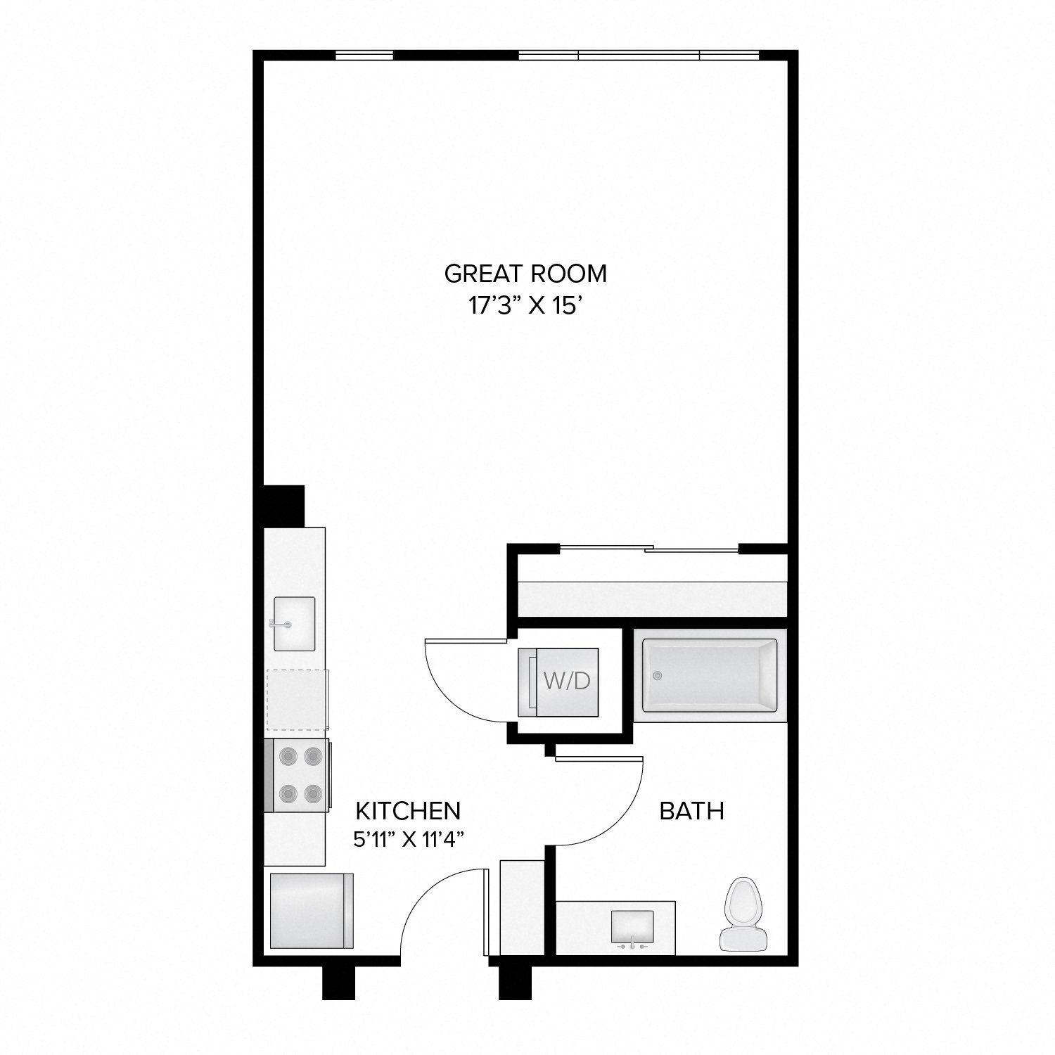 Diagram of the Harrison floor plan. Studio apartment with one bathroom, a living area, kitchen, and washer-dryer.