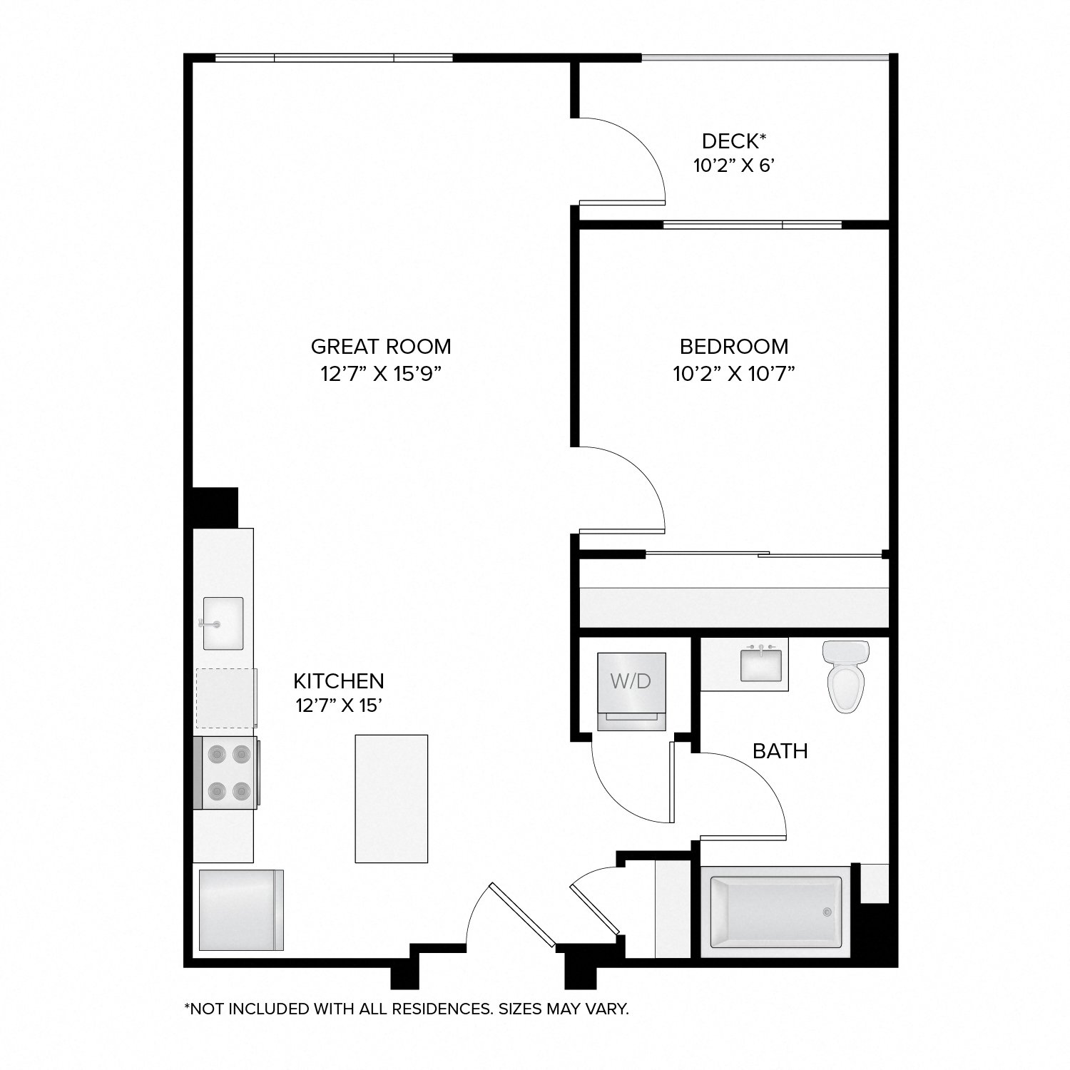 Diagram of the Franklin floor plan. One bedroom, one bathroom, an open kitchen and living area, a washer dryer, and in select residences, a deck.
