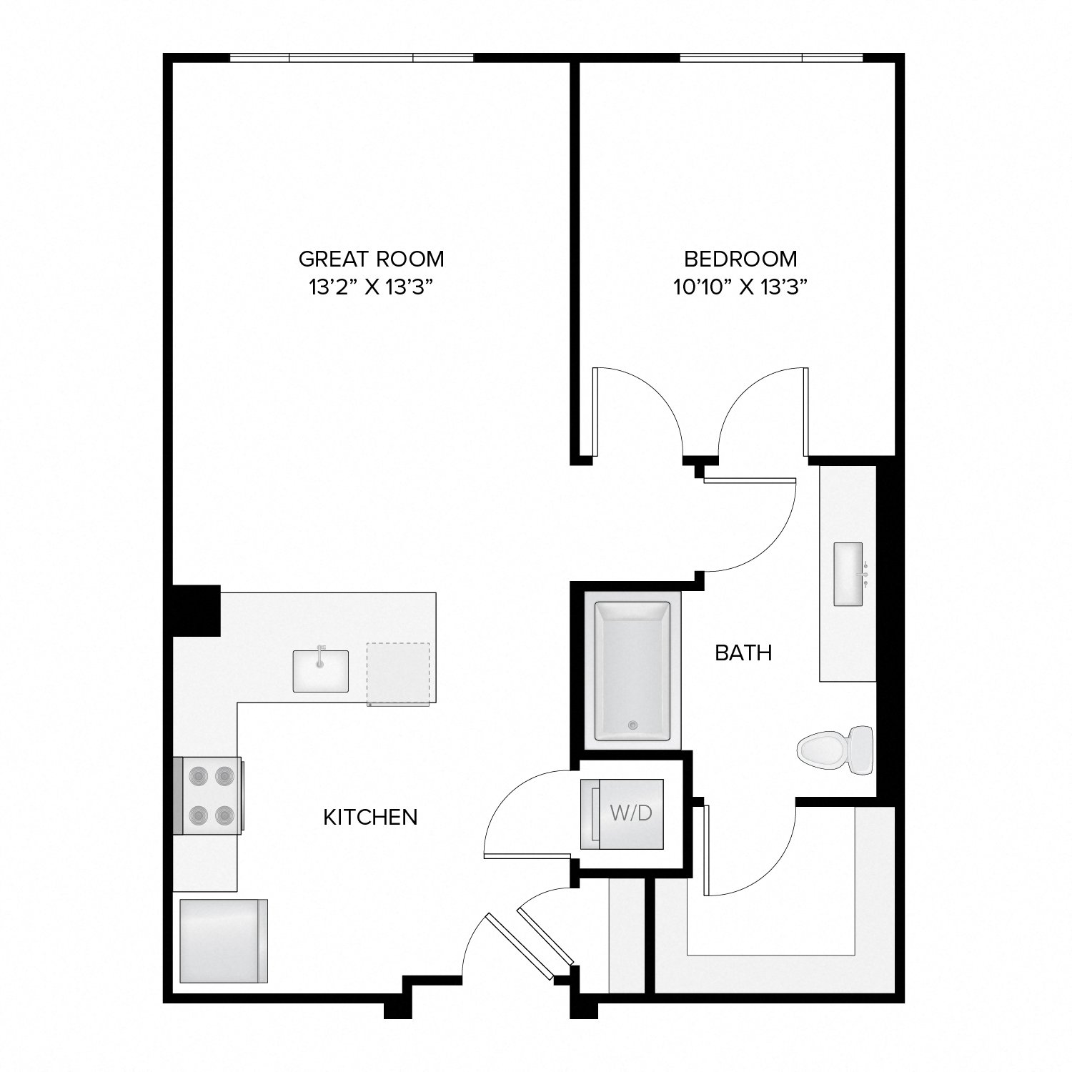 Diagram of the Jefferson floor plan. One bedroom, one bathroom, an open kitchen and living area, and a washer dryer.