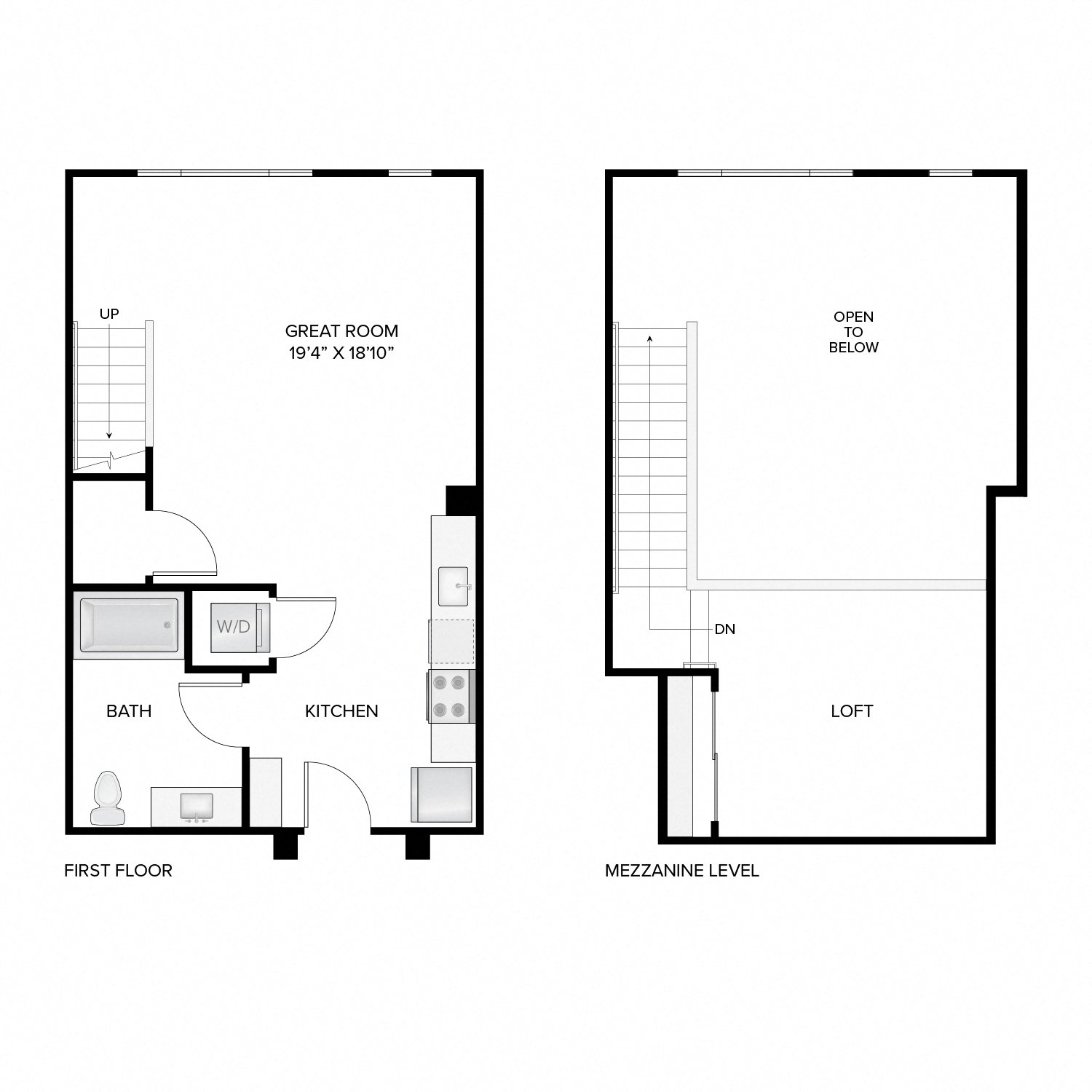 Diagram of the Harrison Loft floor plan. Studio apartment with one bathroom, an open kitchen and living area, a loft, and a washer-dryer.