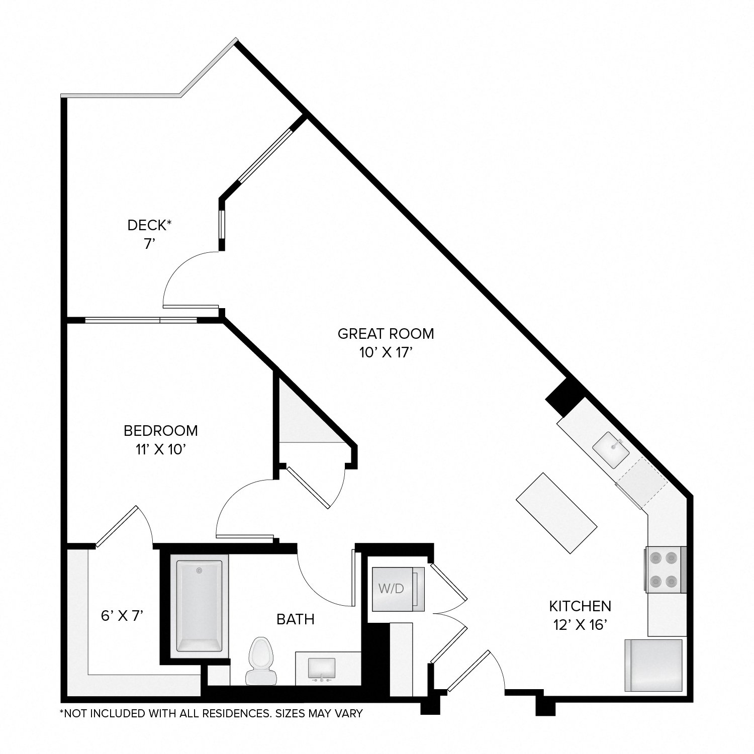Diagram of the Jackson Deluxe floor plan. One bedroom, one bathroom, an open kitchen and living area, a washer dryer, and in select residences, a deck.