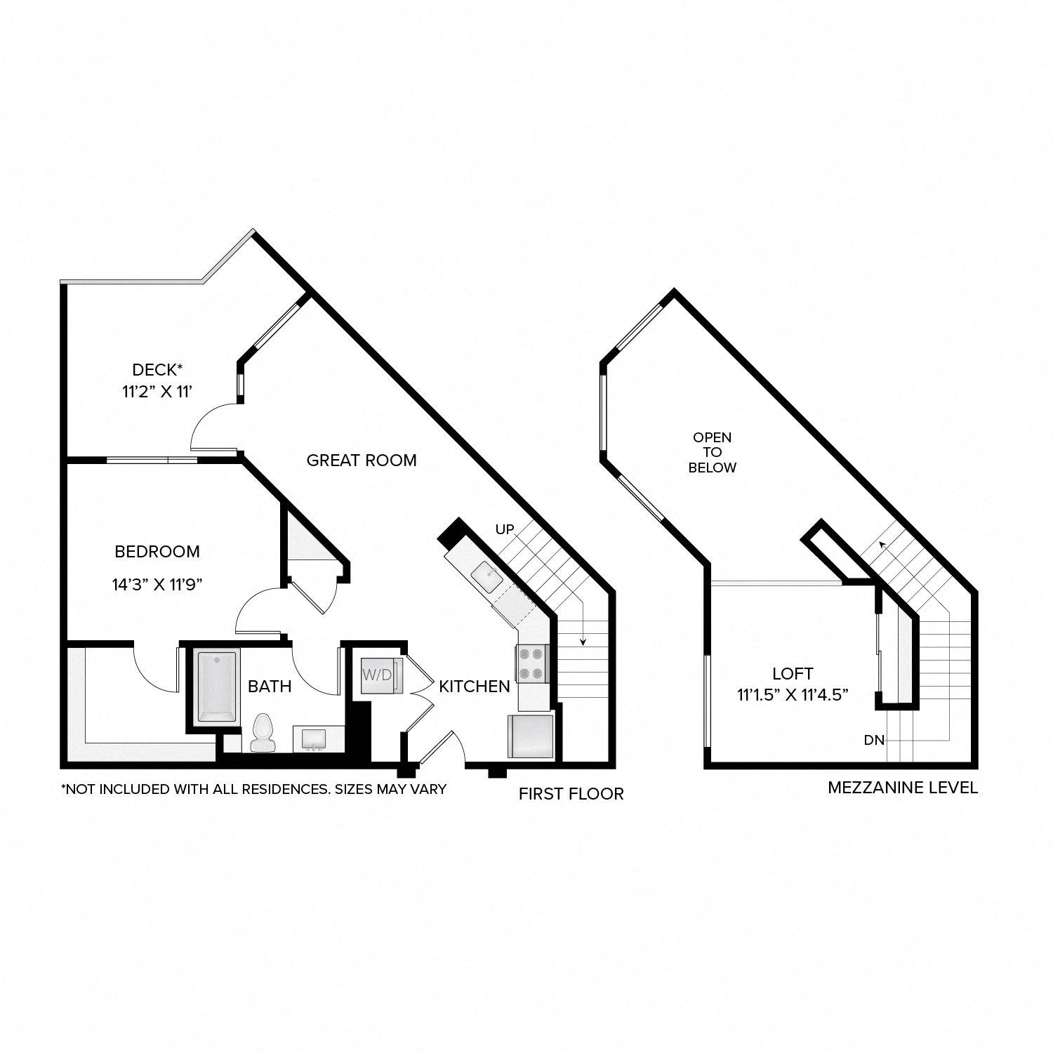 Diagram of the Jackson Loft floor plan. One bedroom, one bathroom, an open kitchen and living area, a loft, washer dryer, and in select residences, a deck.