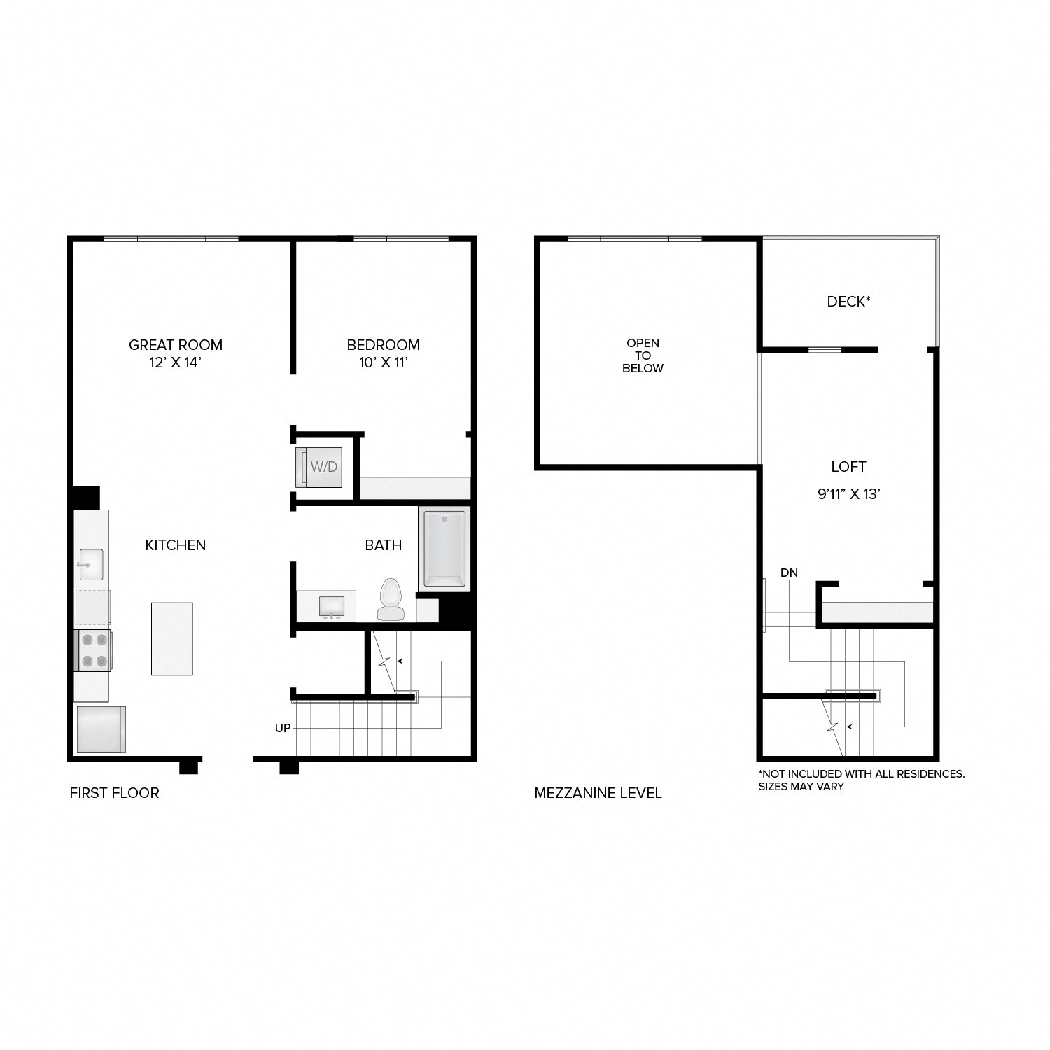 Diagram of the Webster Loft floor plan. One bedroom, one bathroom, a loft, an open kitchen and living area, a washer dryer, and in select residences, a deck.