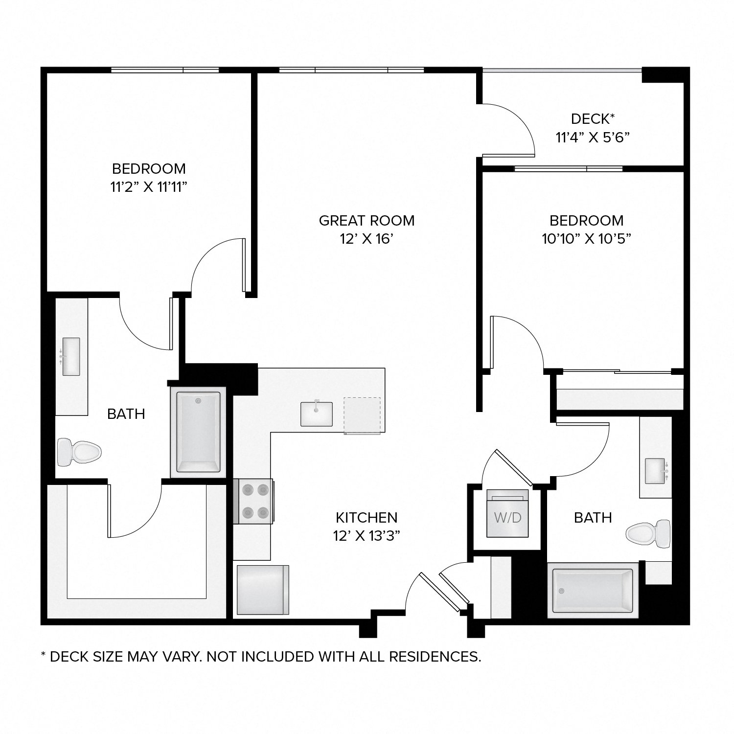 Diagram of the Madison floor plan. Two bedrooms, two bathrooms, an open kitchen and living area, a washer dryer, and in select residences, a deck.