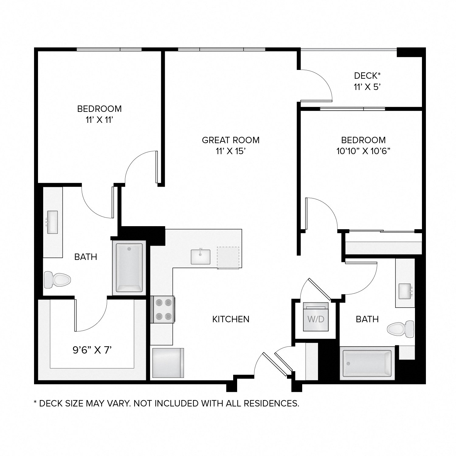 Diagram of the Madison Deluxe floor plan. Two bedrooms, two bathrooms, an open kitchen and living area, a washer dryer, and in select residences, a deck.