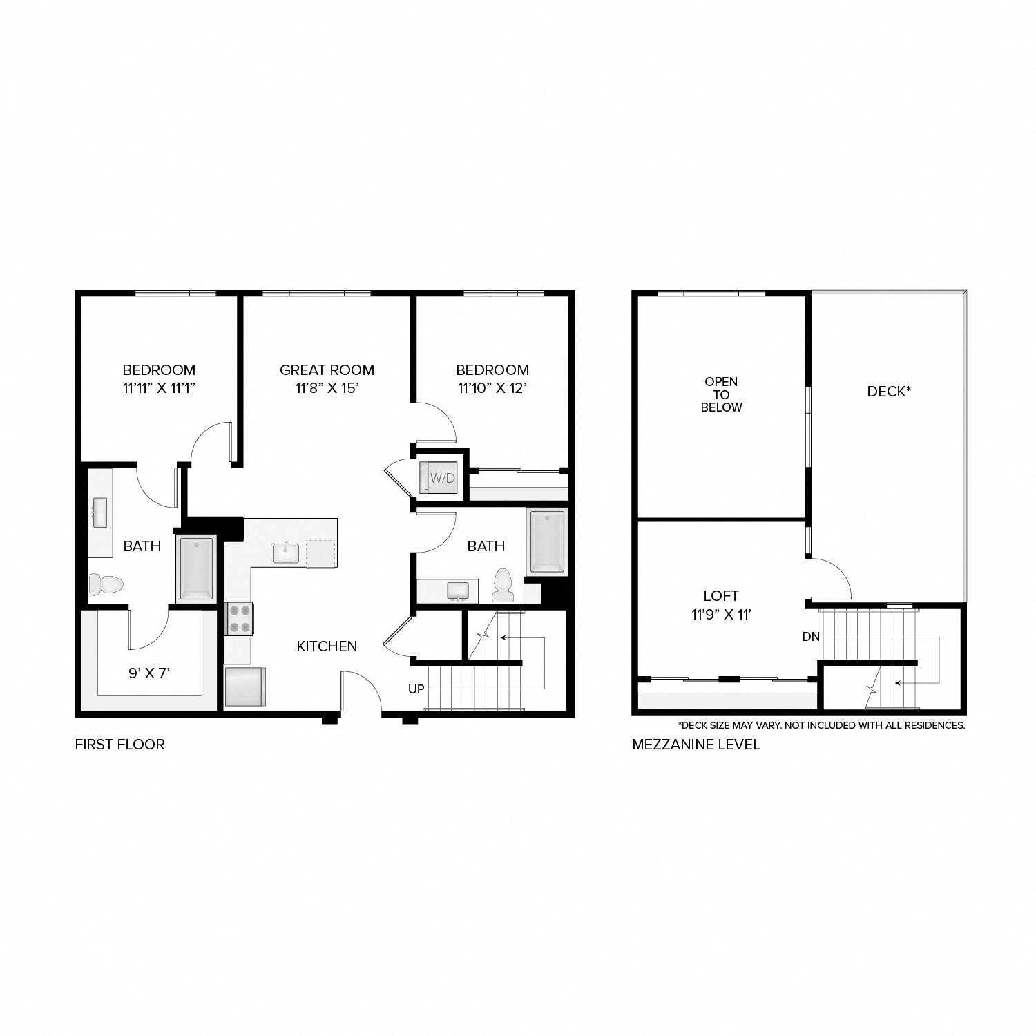 Diagram of the Madison Deluxe Loft floor plan. Two bedrooms, two bathrooms, a loft, an open kitchen and living area, a washer dryer, and in select residences, a deck.