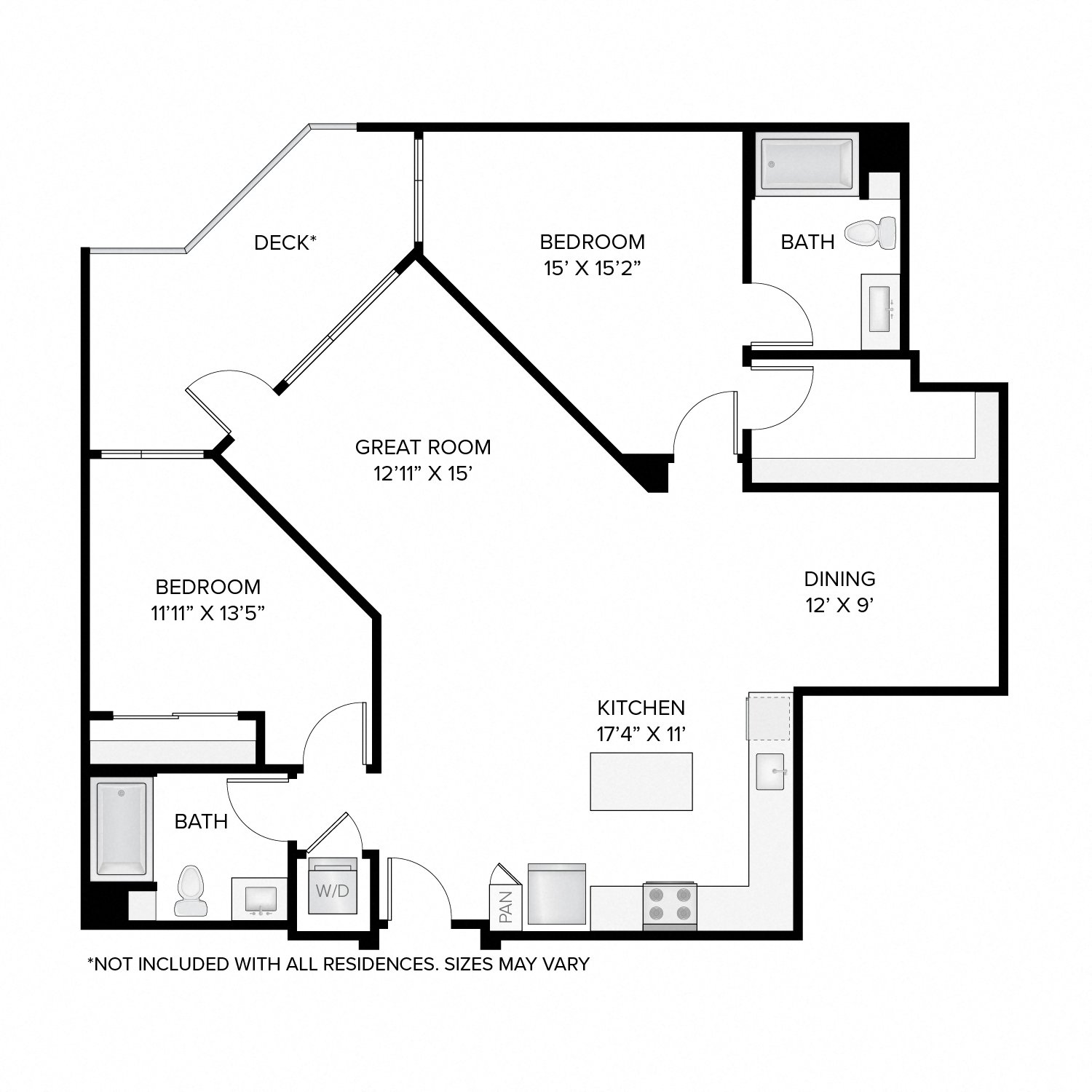 Diagram of the Oak floor plan. Two bedrooms, two bathrooms, an open kitchen, dining, and living area, a washer dryer, and in select residences, a deck.