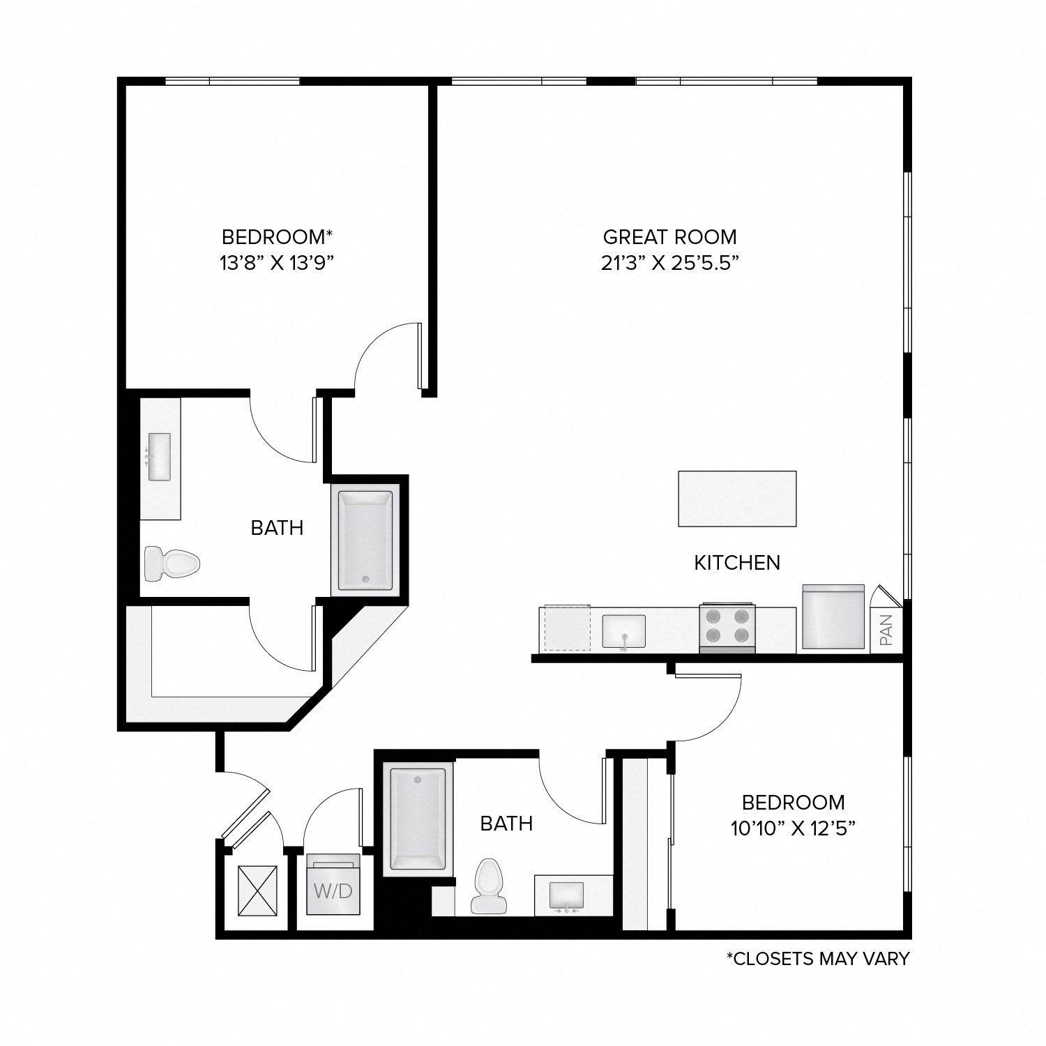 Diagram of the Washington Deluxe floor plan. Two bedrooms, two bathrooms, an open kitchen and living area, and a washer dryer.
