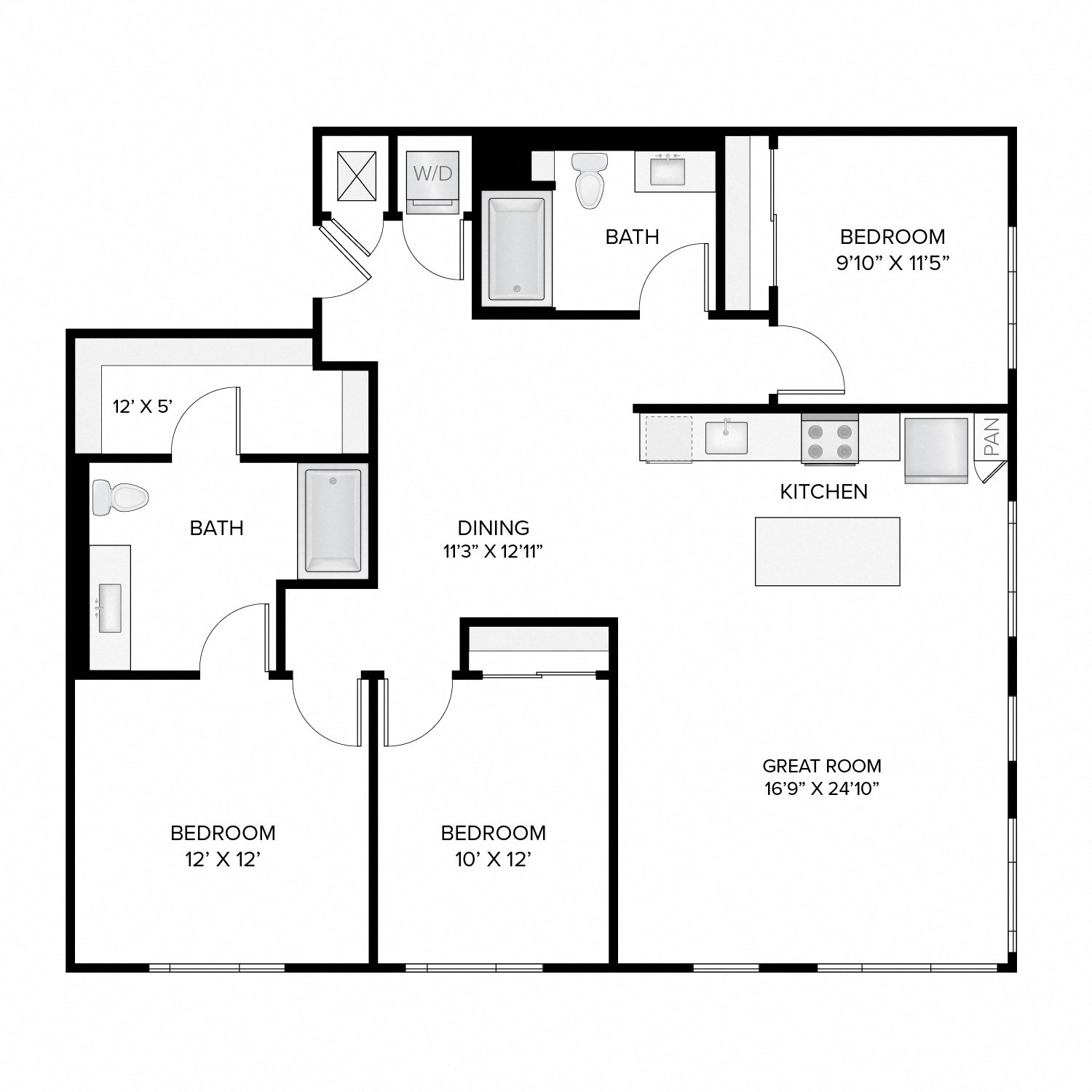 Diagram of the Fallon Deluxe Reverse floor plan. Three bedrooms, two bathrooms, an open kitchen and living area, and a washer dryer.