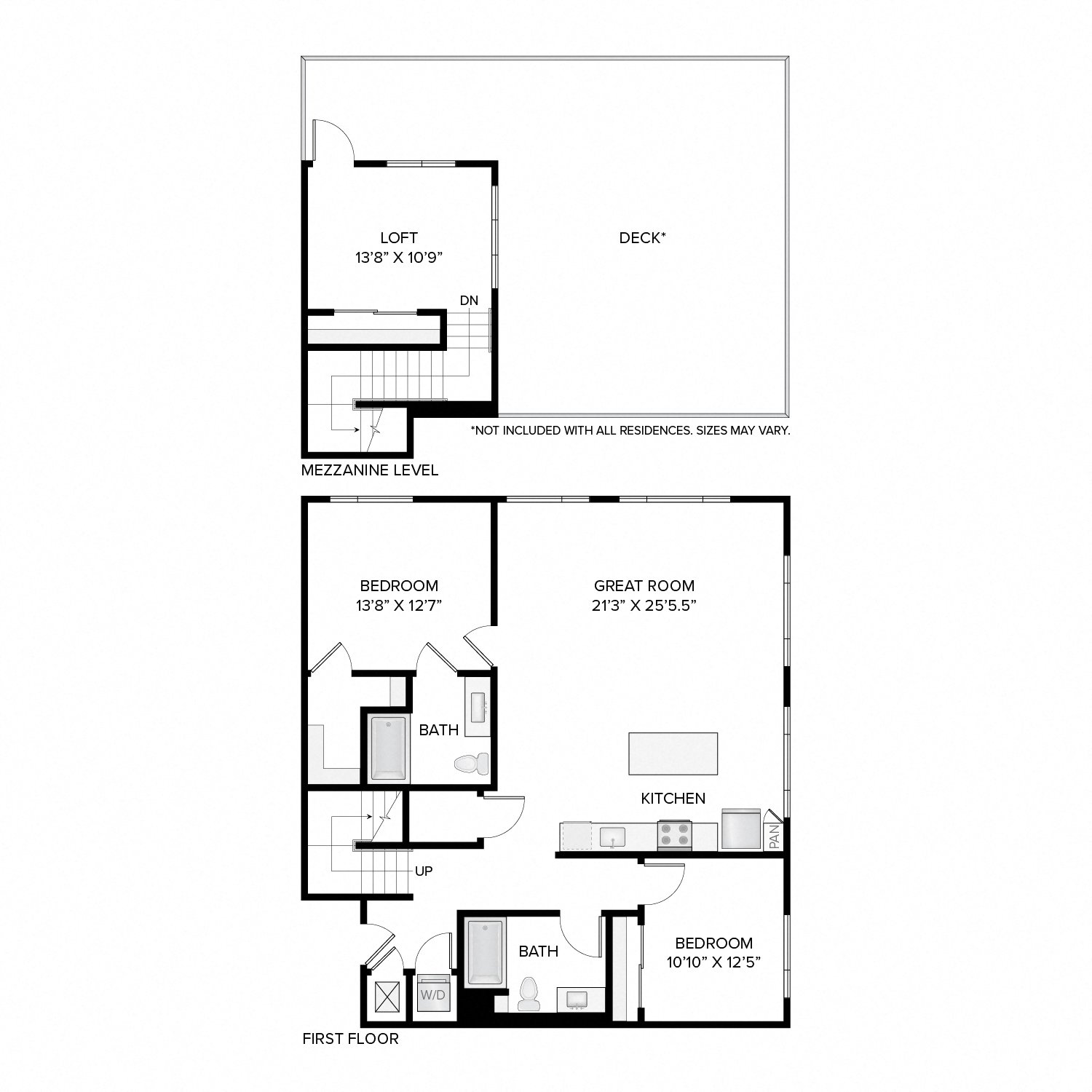 Diagram of the Clay Loft floor plan. Two bedrooms, two bathrooms, an open kitchen and living area, a loft, a washer dryer, and in select residences, a deck.