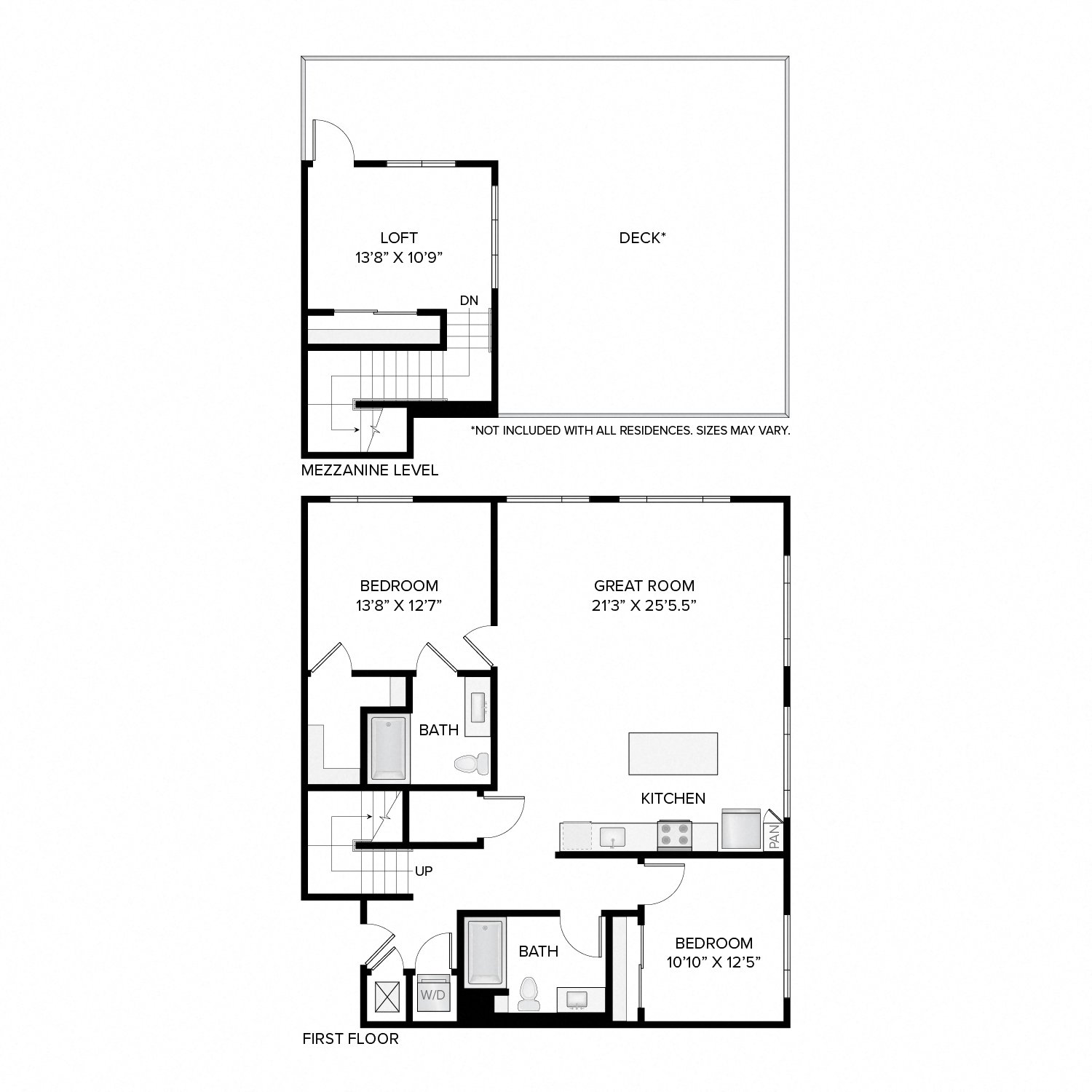 Diagram of the Clay Deluxe Loft floor plan. Two bedrooms, two bathrooms, an open kitchen and living area, a loft, a washer dryer, and in select residences, a deck.