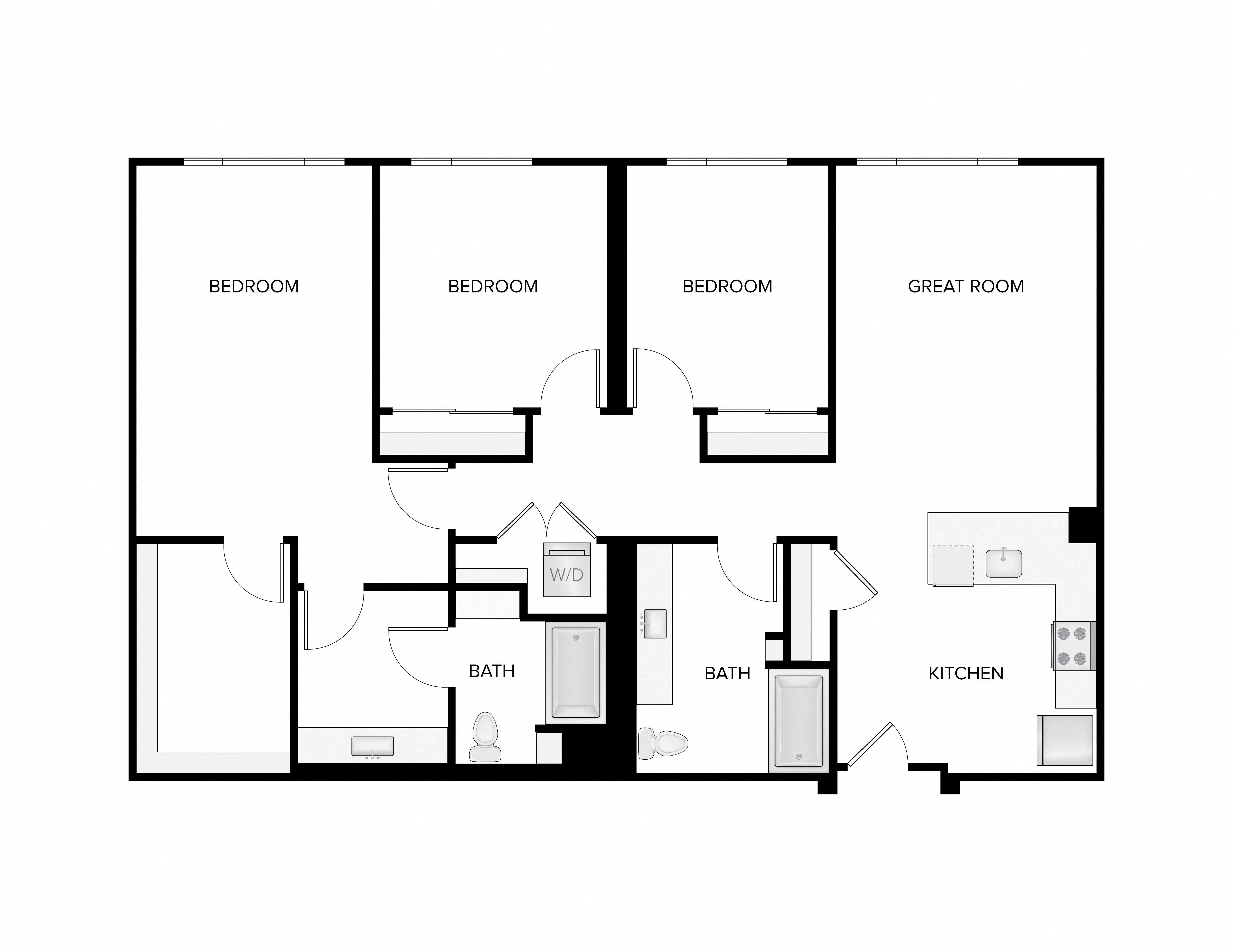Diagram of the Fallon Deluxe Variation floor plan. Three bedrooms, two bathrooms, an open kitchen and living area, and a washer dryer.