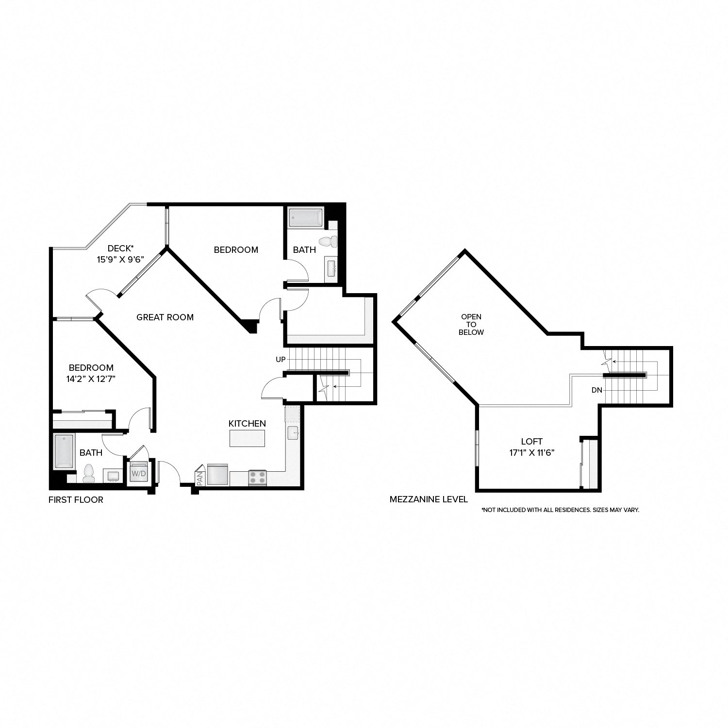 Diagram of the Oak Loft floor plan. Two bedrooms, two bathrooms, a loft, an open kitchen, dining, and living area, a washer dryer, and in select residences, a deck.