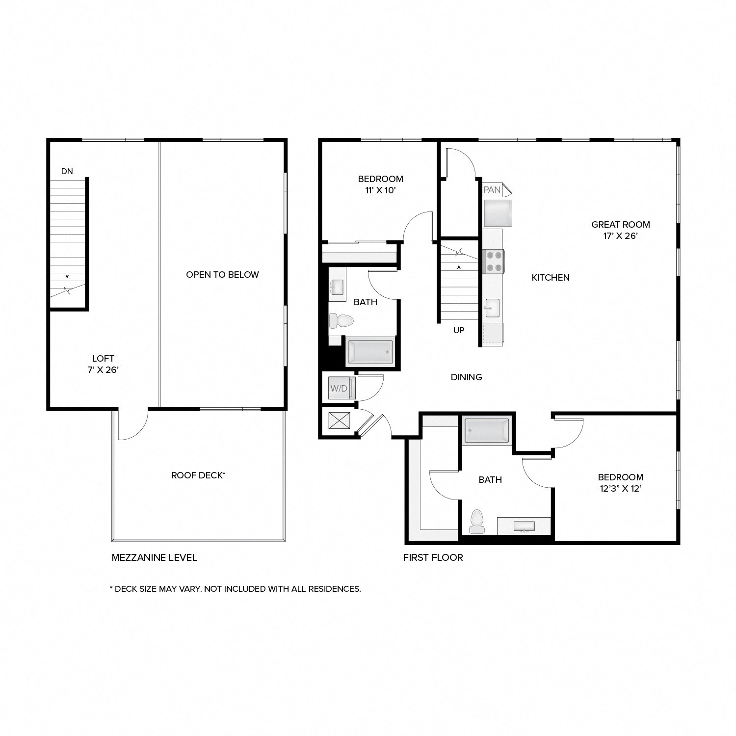 Diagram of the Washington Deluxe Loft floor plan. Two bedrooms, two bathrooms, a loft, an open kitchen and living area, a washer dryer, and in select residences, a deck.