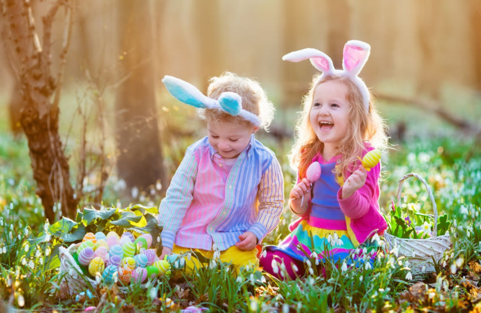 two girls with easter eggs
