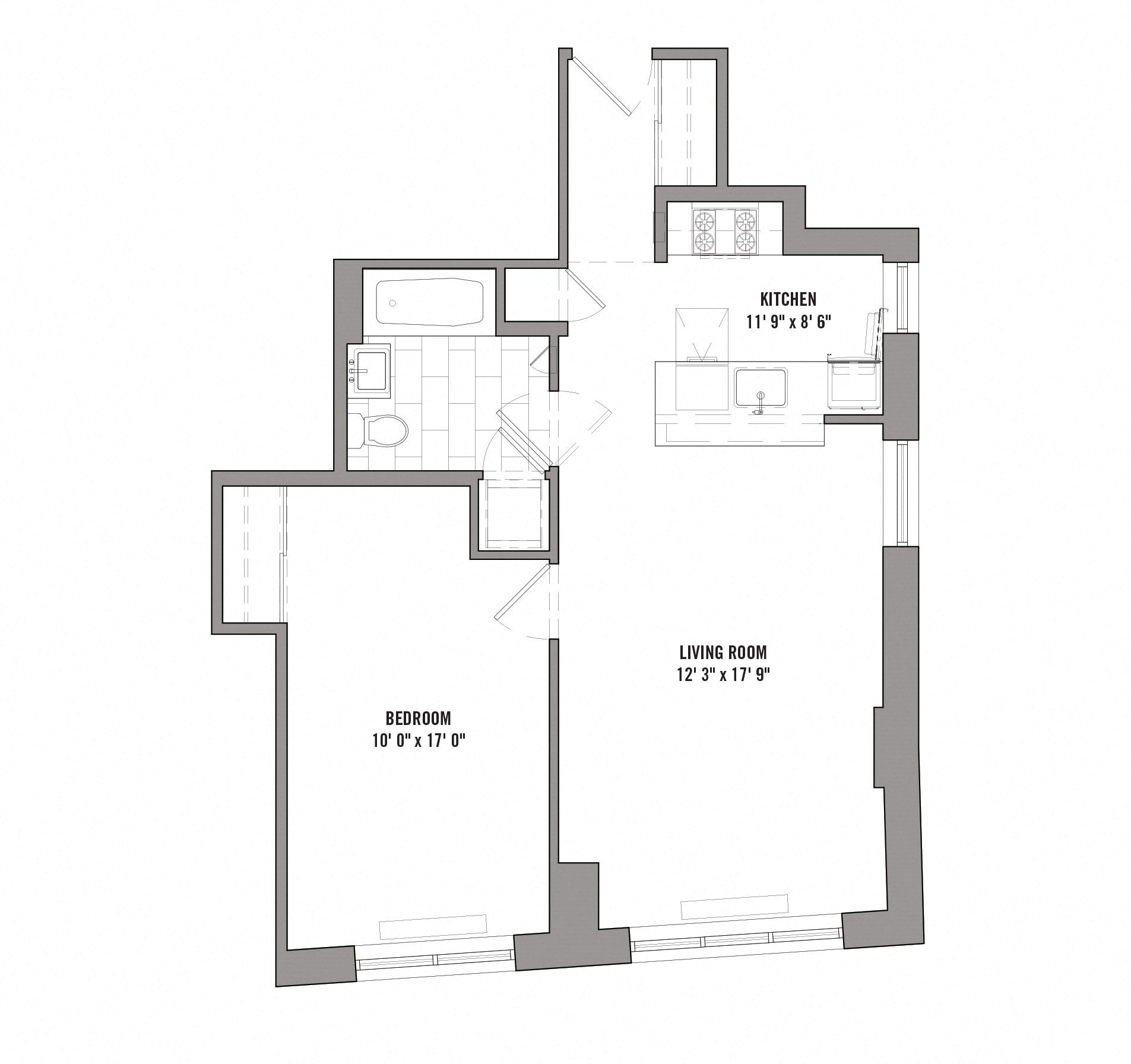 Floor plan diagram for unit D 9-15. 1 bedroom, 1 bathroom, kitchen, and living room.
