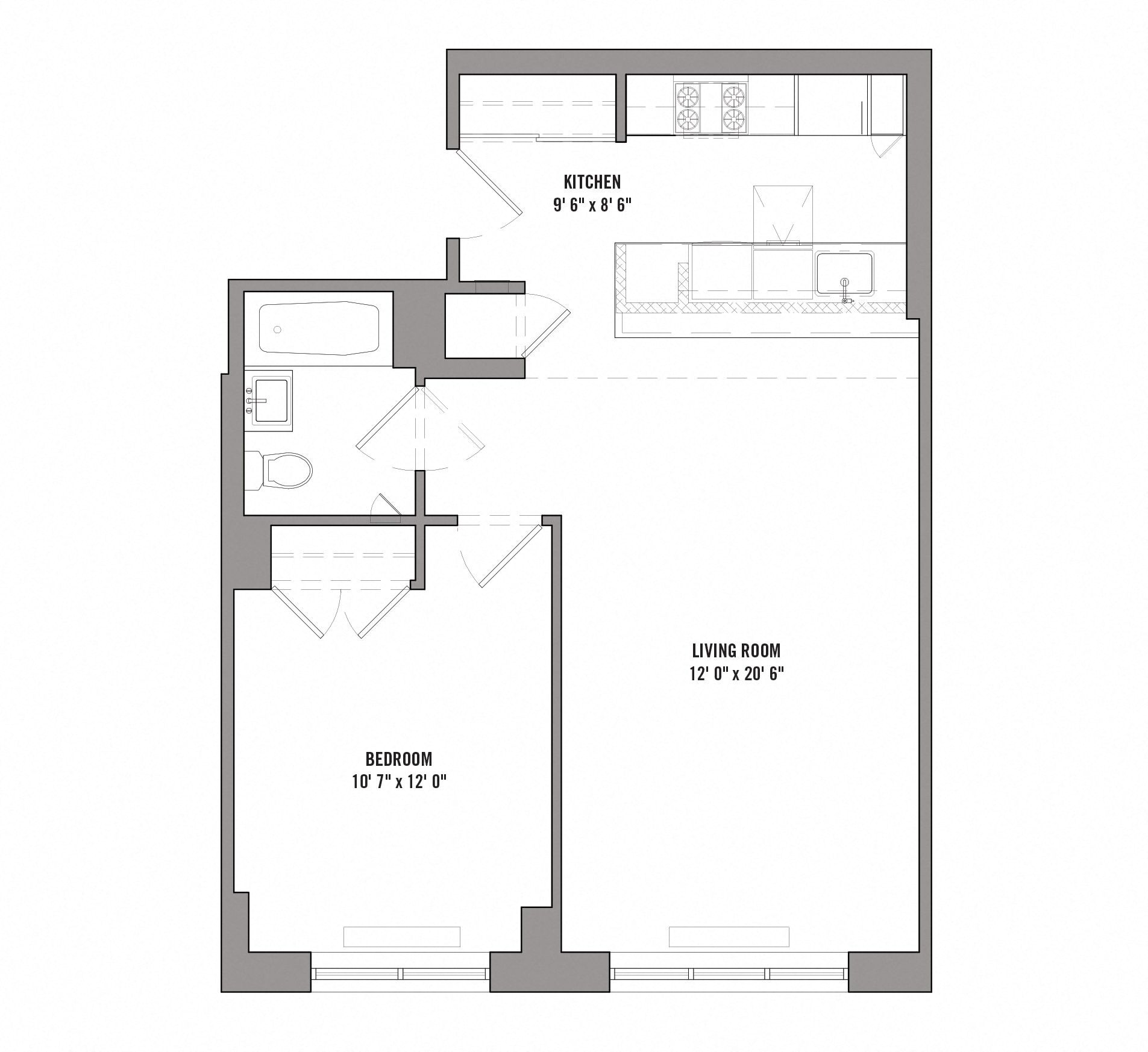 Floor plan diagram for unit B 3 30. 1 bedroom, 1 bathroom apartment with kitchen and living room.