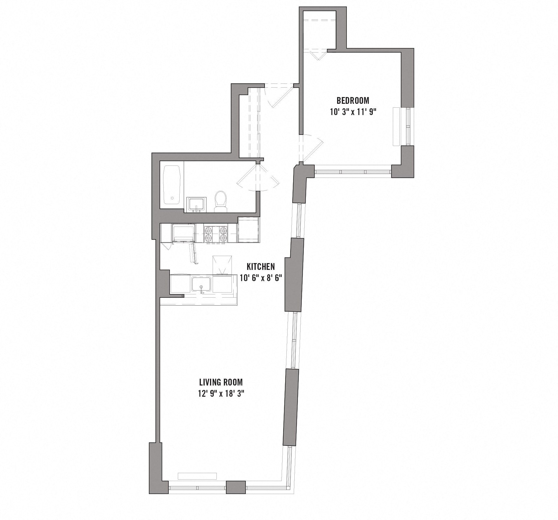 Floor plan diagram for unit A 3 15. 1 bedroom, 1 bathroom, kitchen, and living room.