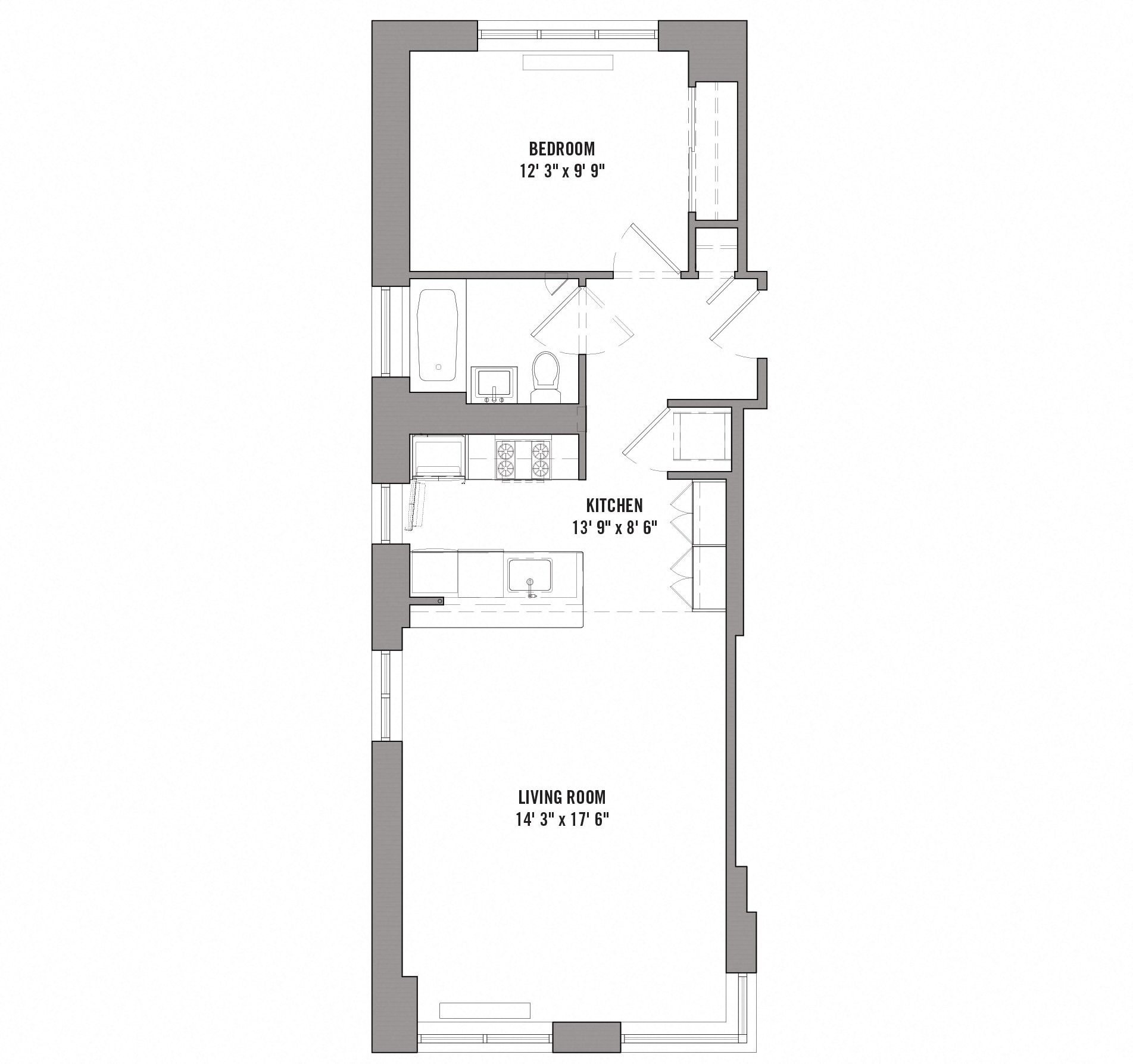 Floor plan diagram for unit C 2 30. 1 bedroom, 1 bathroom, kitchen, and living room.