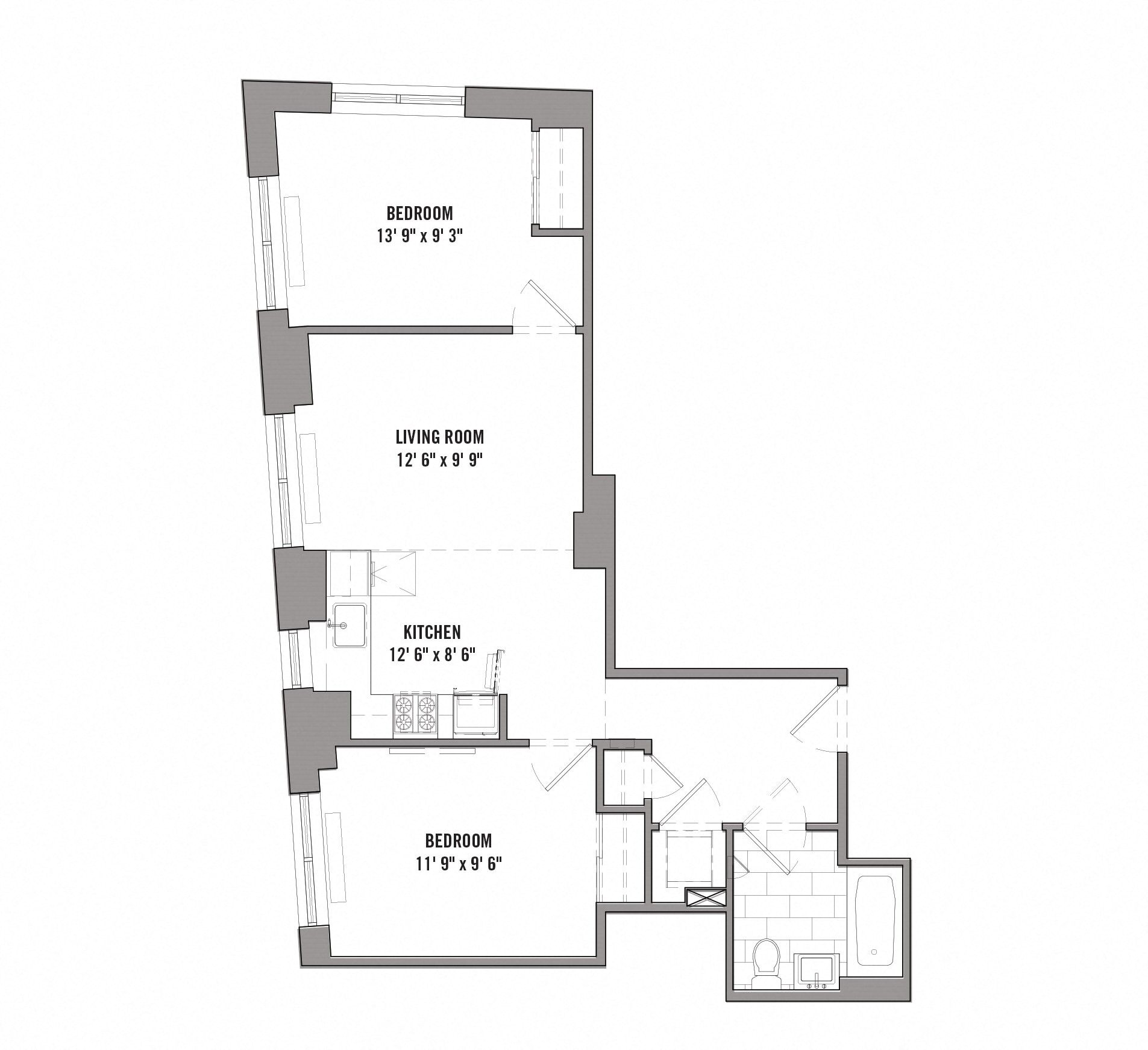 Floor plan diagram for unit E 2-15. 2 bedrooms, 1 bathroom, kitchen, and living room.