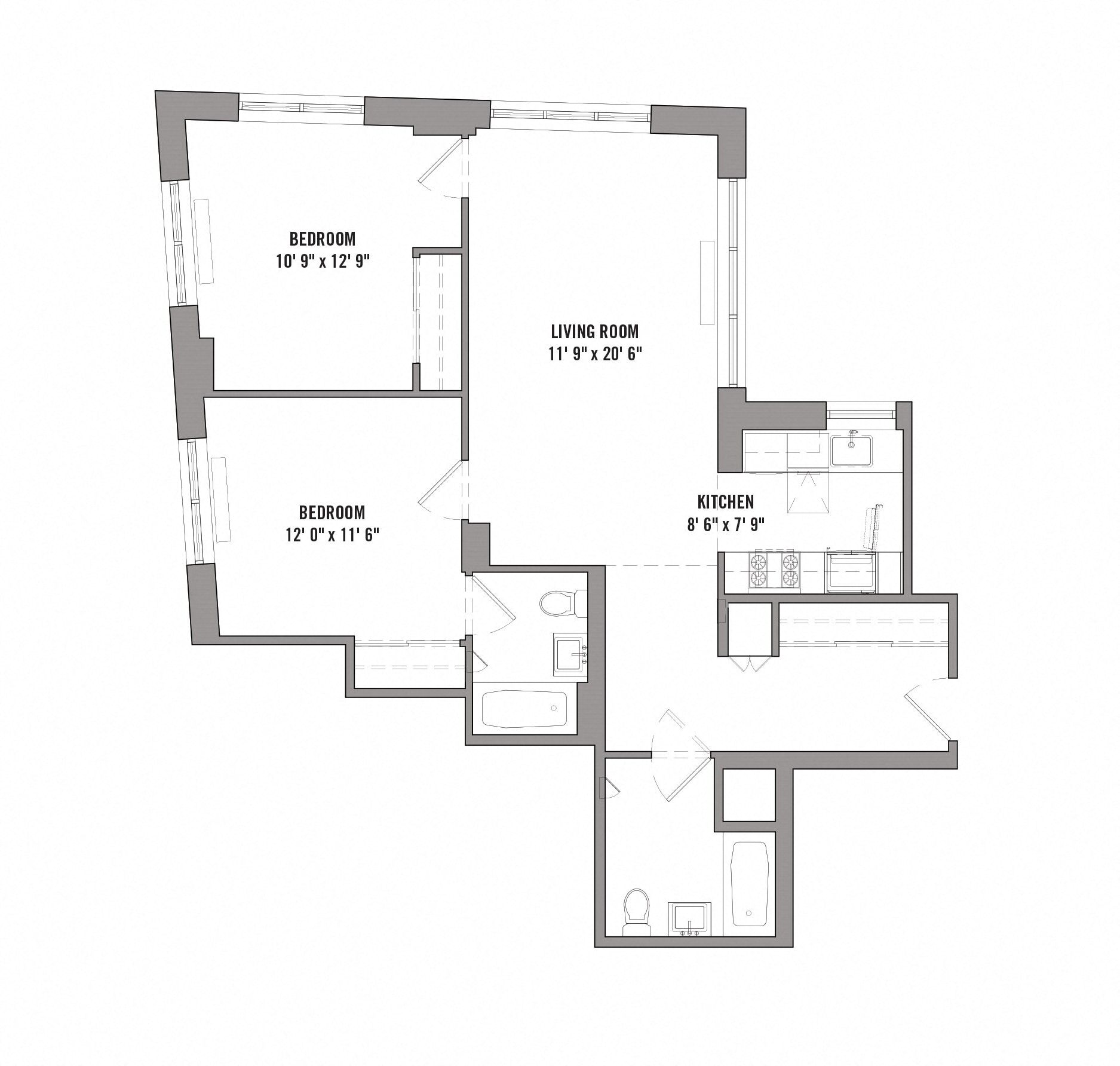 Floor plan diagram for unit F 16-PH. 2 bedrooms, 2 bathrooms, kitchen, and living room.