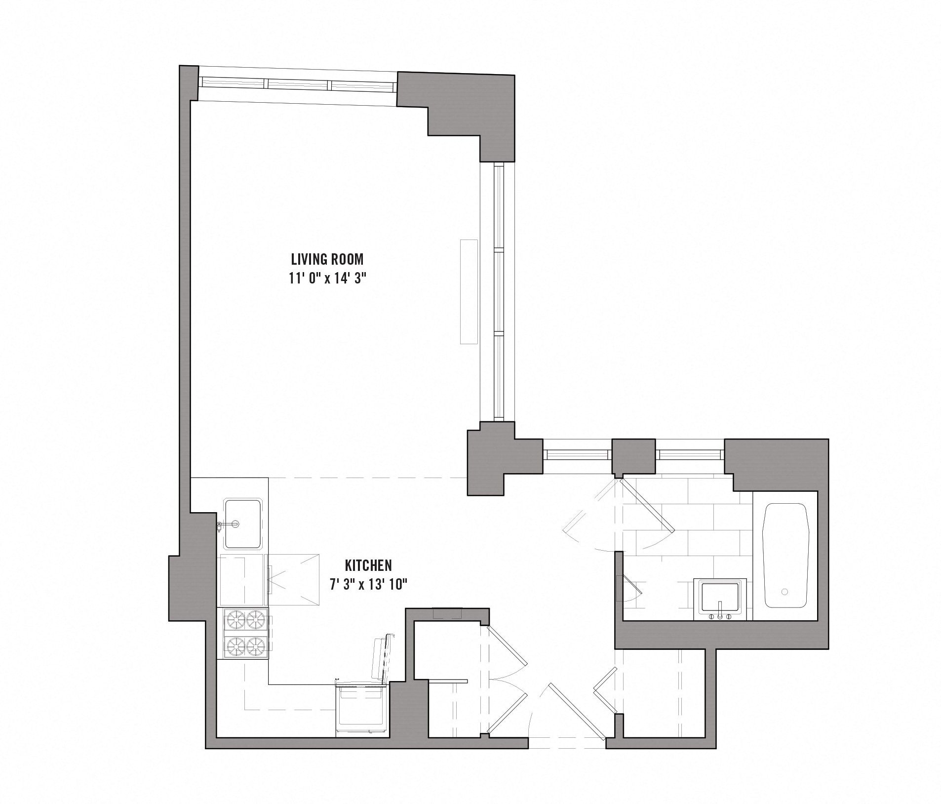 Floor plan diagram for unit F 3-15. Studio apartment with bathroom, kitchen, and living area.