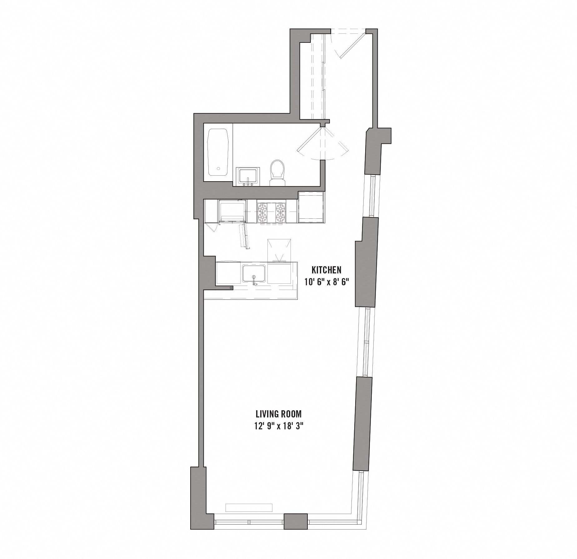 Floor plan diagram for unit A2. Studio apartment with kitchen, living area, and bathroom.