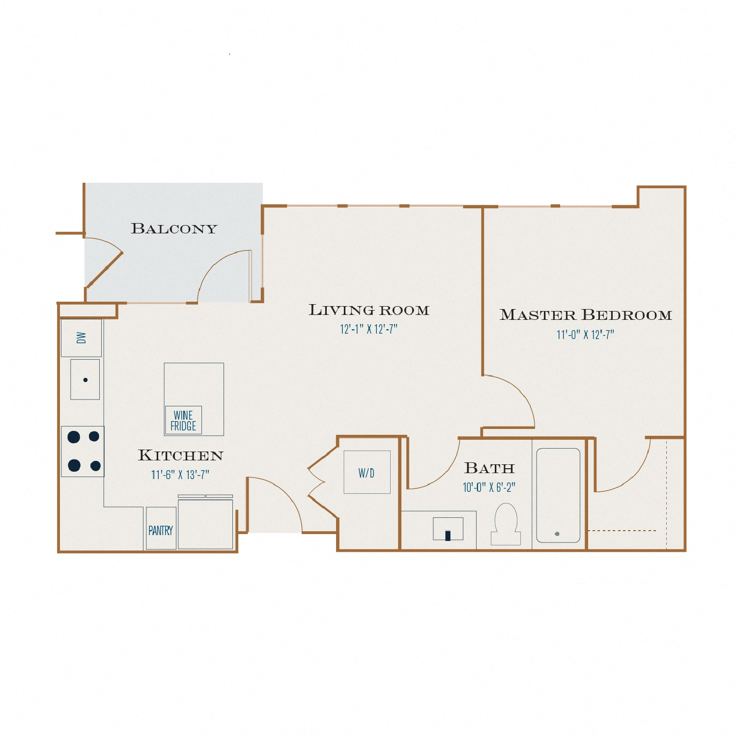 A One floor plan diagram. One bedroom, one bathroom, an open kitchen and living area, a balcony, and a washer dryer.
