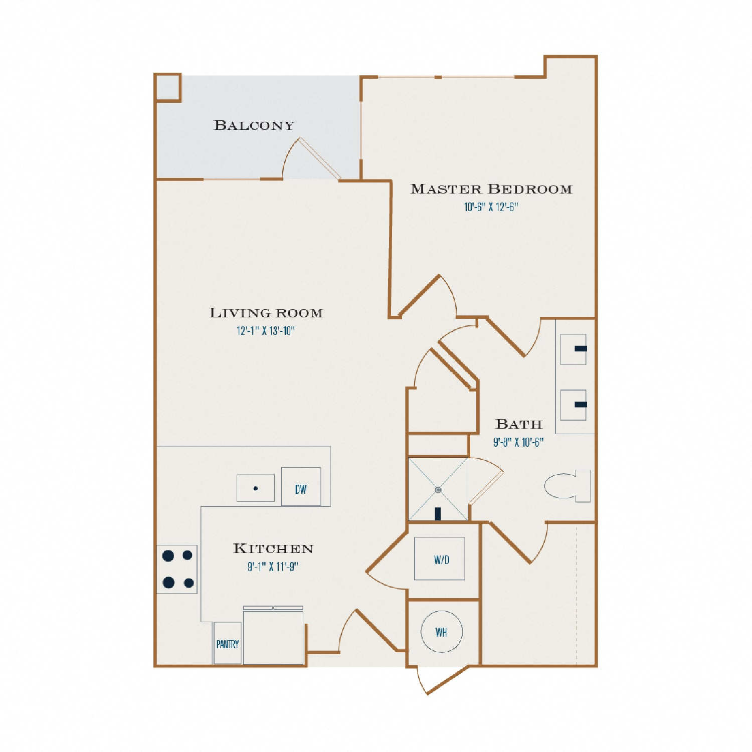 A Two floor plan diagram. One bedroom, one bathroom, an open kitchen and living area, a balcony, and a washer dryer.