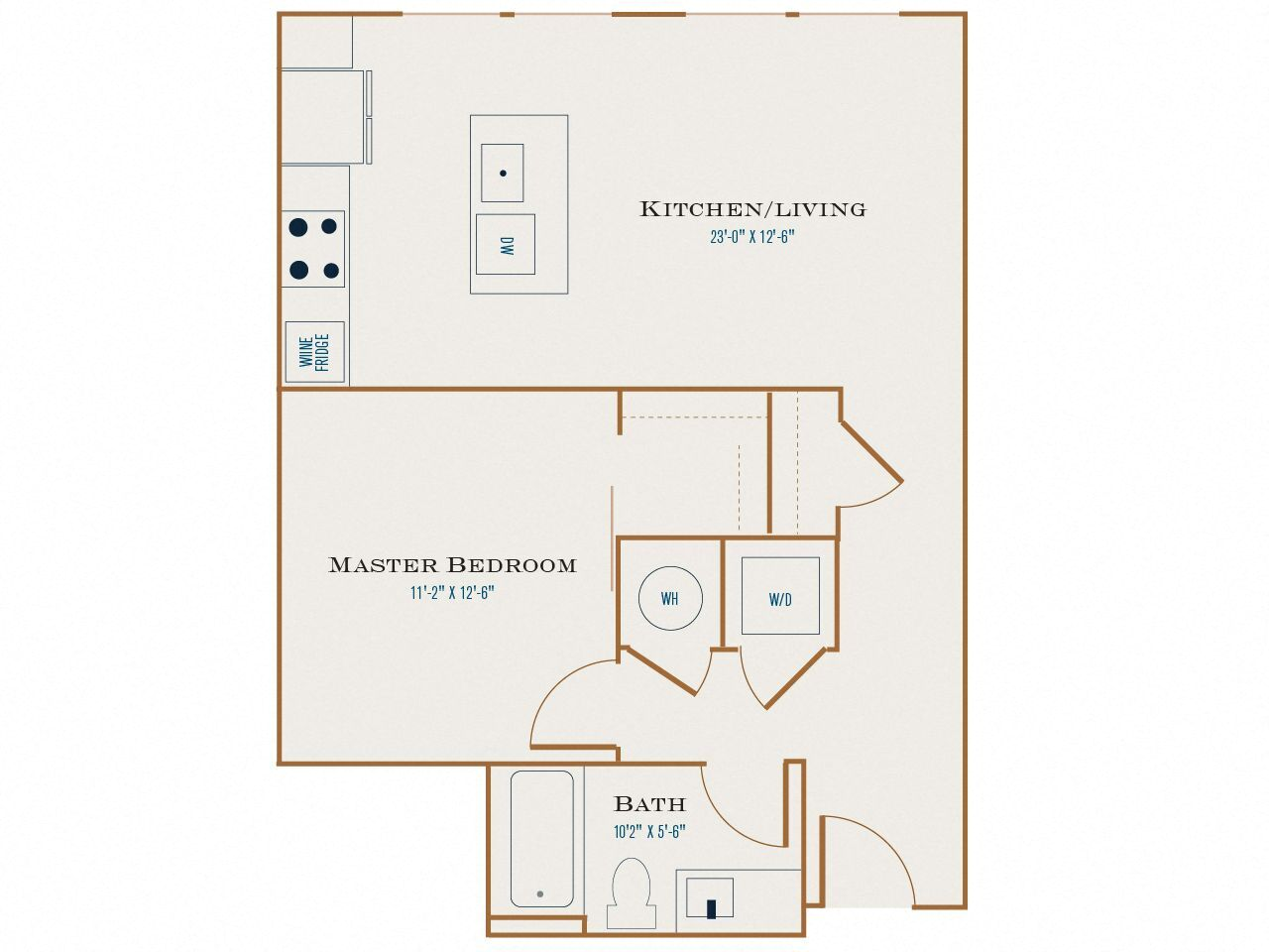 A Three floor plan diagram. One bedroom, one bathroom, an open kitchen and living area, and a washer dryer.