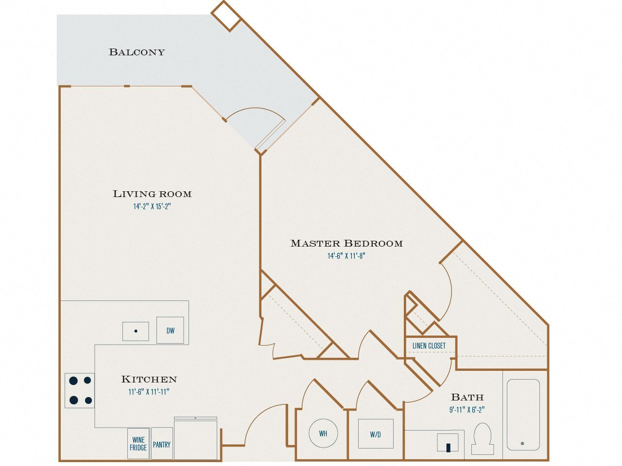 A Four floor plan diagram. One bedroom, one bathroom, an open kitchen and living area, a balcony, and a washer dryer.