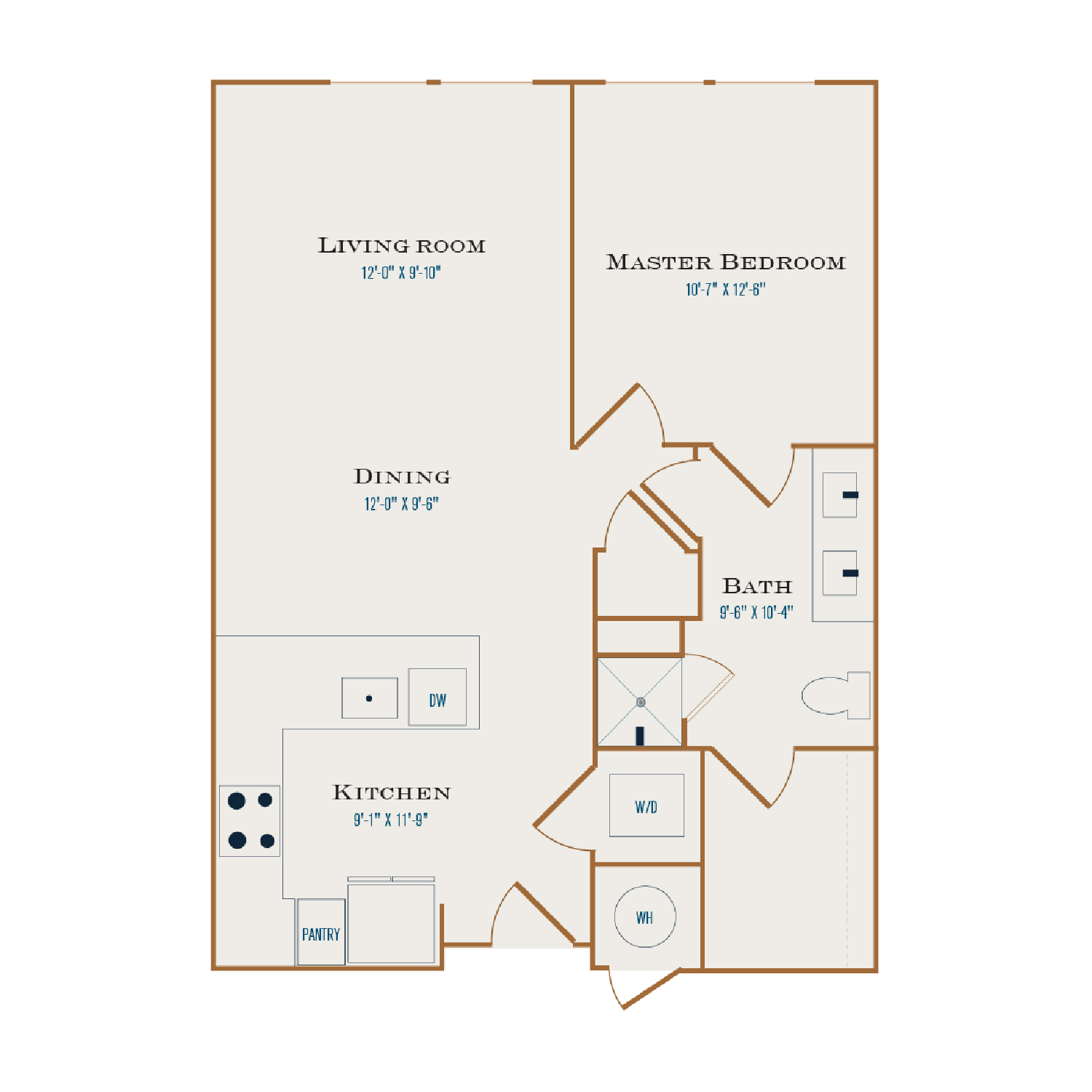 A Five floor plan diagram. One bedroom, one bathroom, an open kitchen and living area, and a washer dryer.