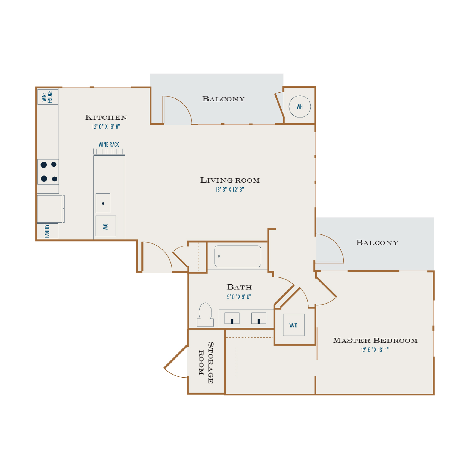 A Nine floor plan diagram. One bedroom, one bathroom, an open kitchen and living area, two balconies, and a washer dryer.