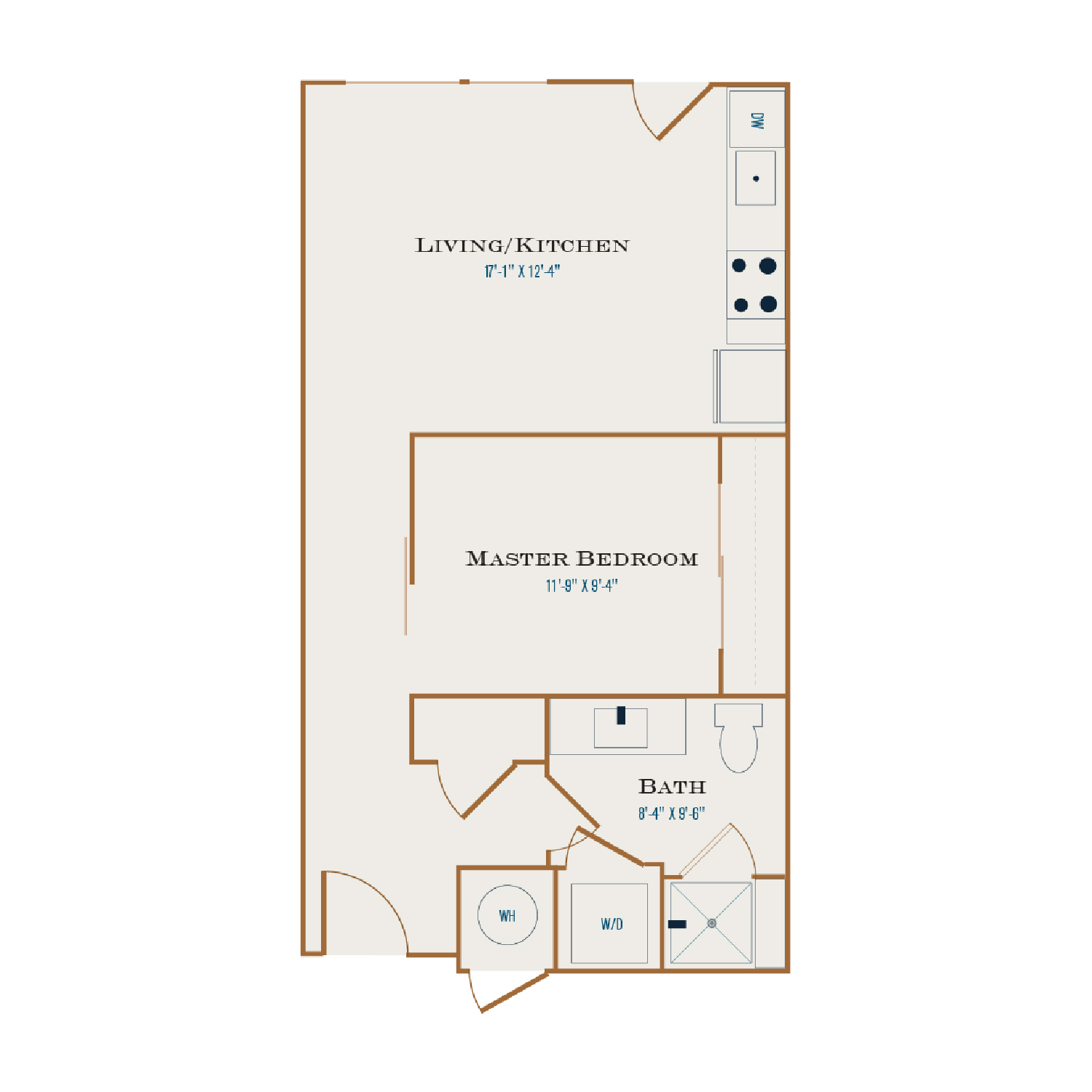 U One floor plan. One bedroom, one bathroom, an open kitchen and living area, and a washer dryer.