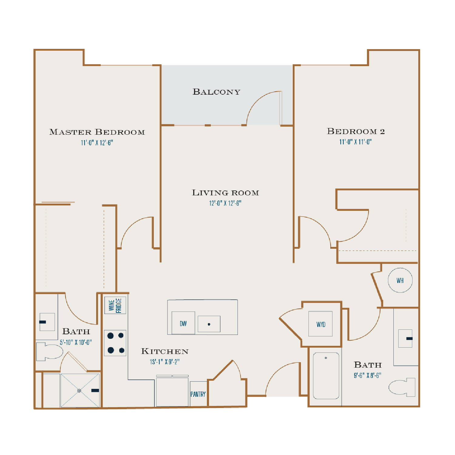 B Two floor plan diagram. Two bedrooms, two bathrooms,  an open kitchen and living area, a balcony, and a washer dryer.