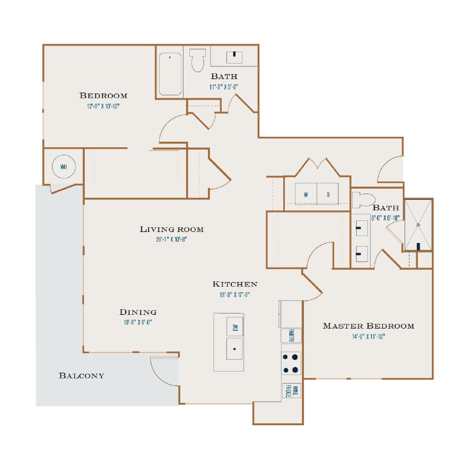 B Three floor plan diagram. Two bedrooms, two bathrooms,  an open kitchen and living area, a balcony, and a washer dryer.